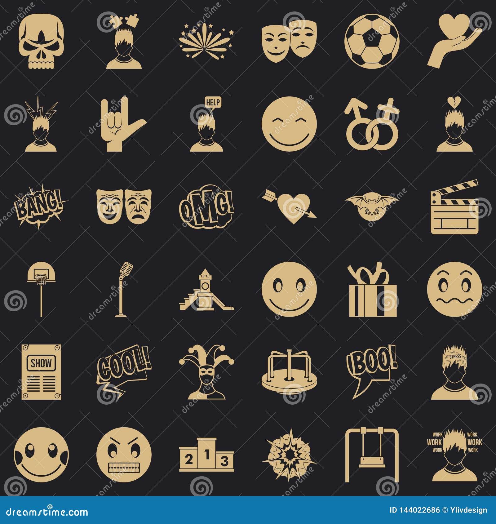 Bonnes icônes d émotion réglées, style simple