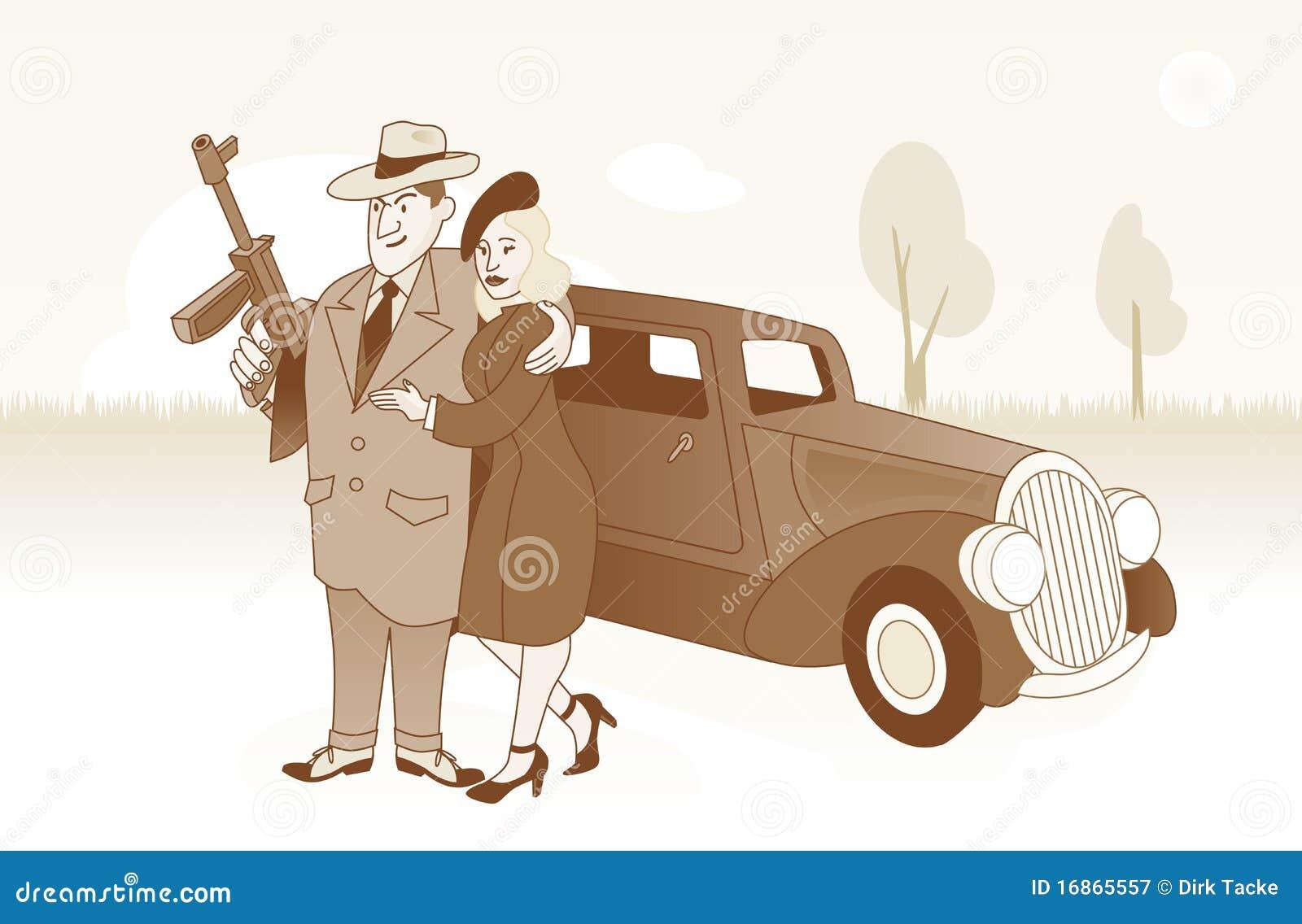 Bonnie e Clyde na frente de seu carro