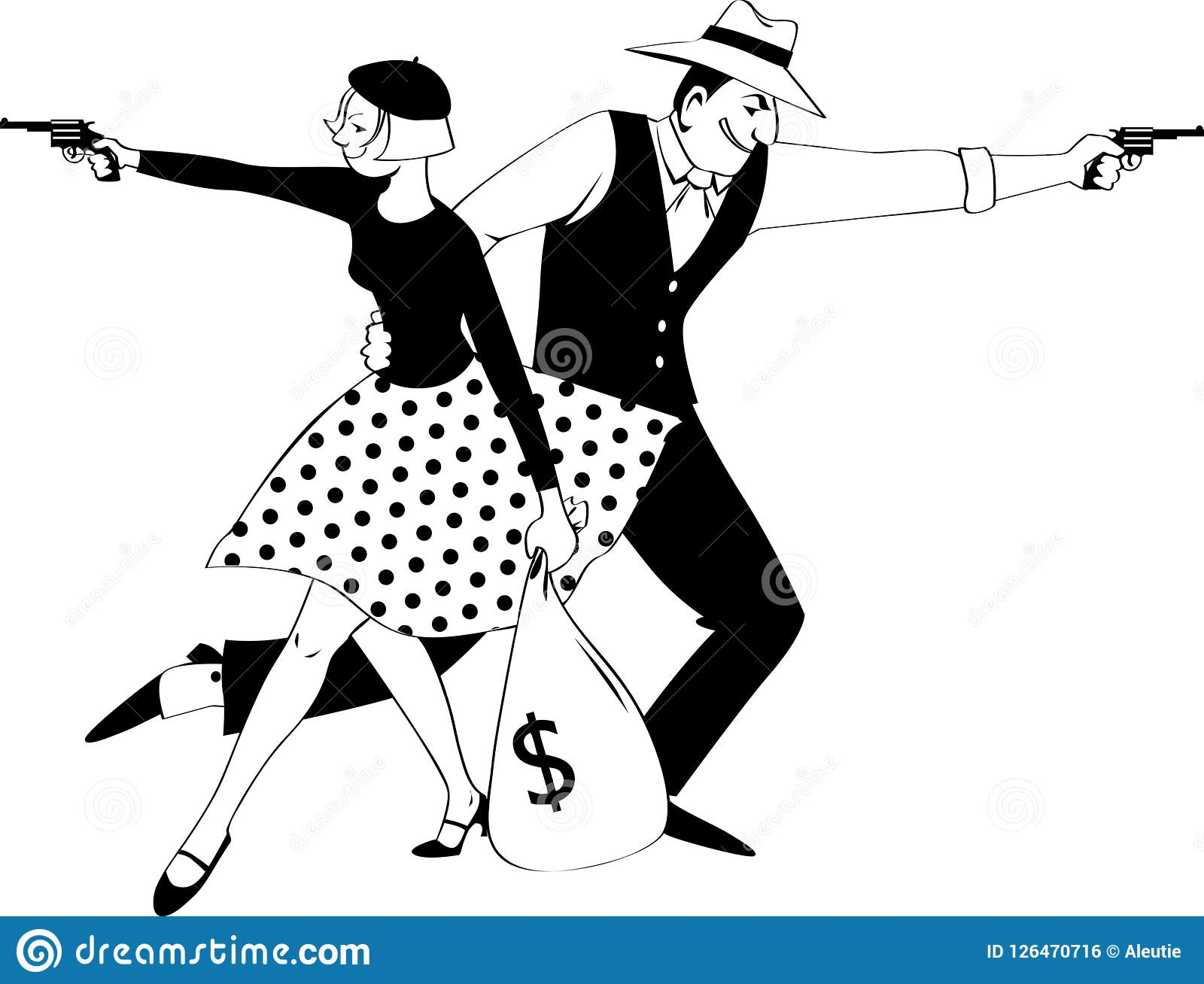 Bonny and Clyde stock vector  Illustration of 1030th - 126470716
