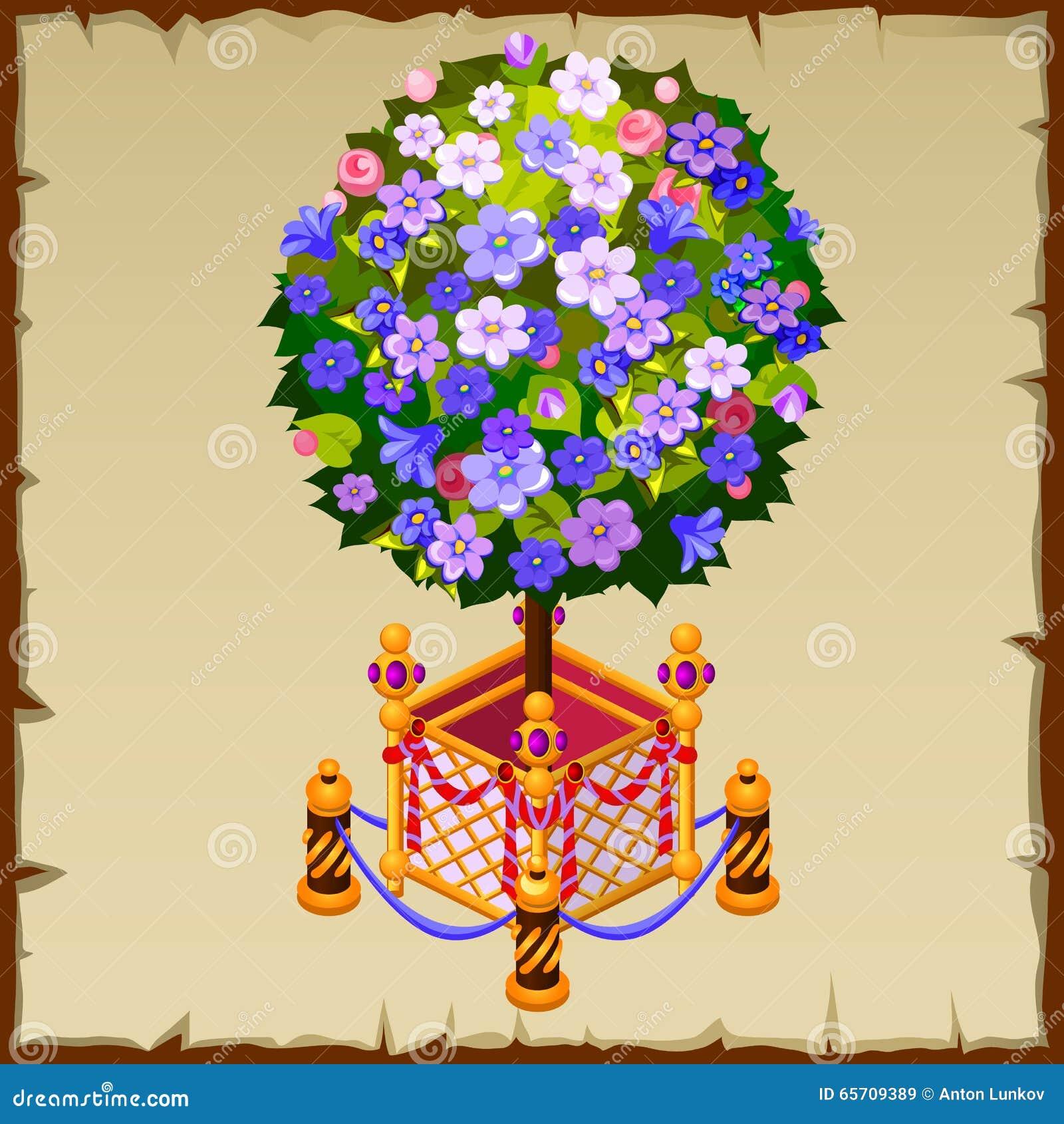 Bonsai insoliti dell 39 albero con i fiori ed il recinto blu for Albero con fiori blu