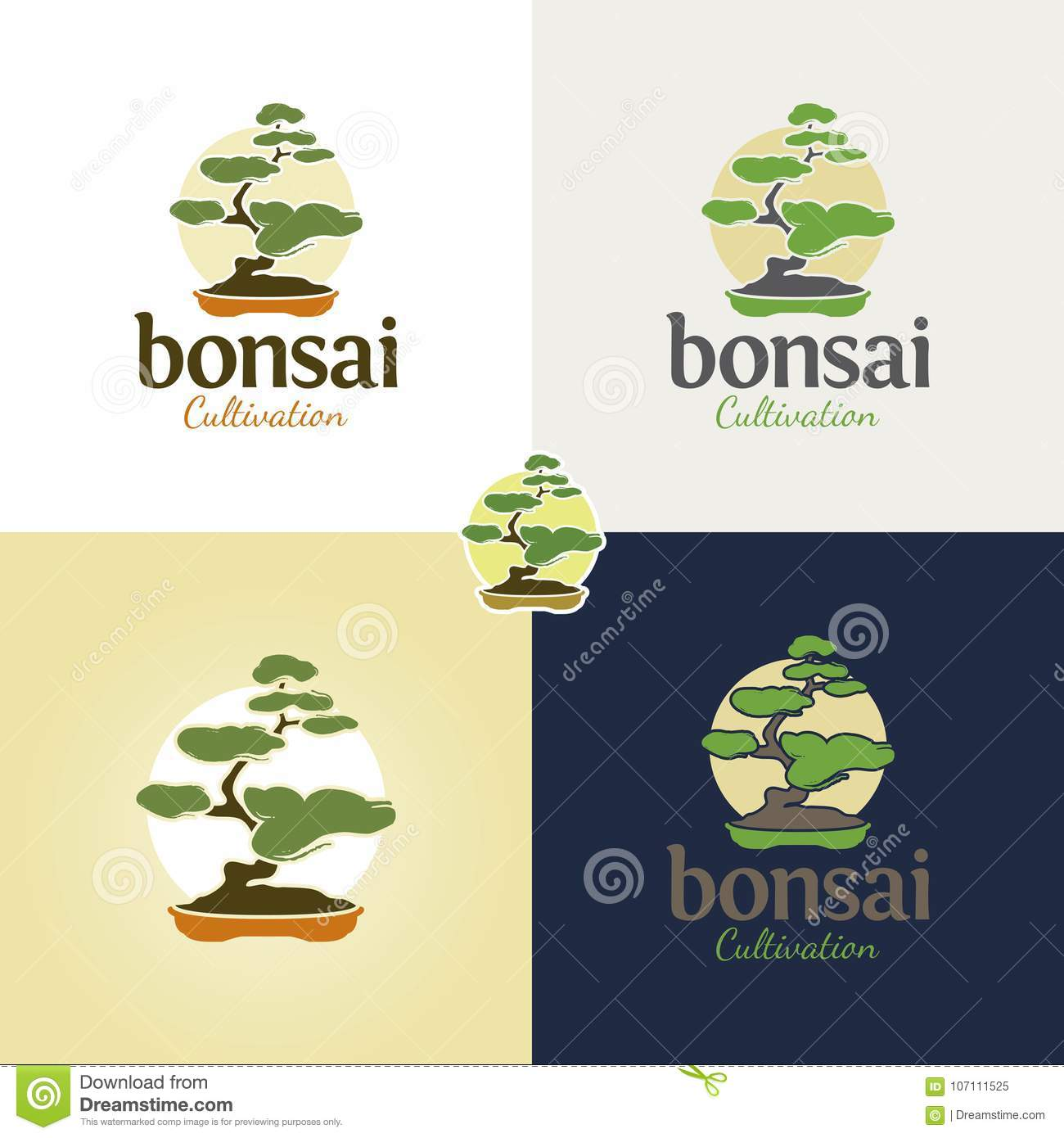 Bonsai Logo And Icon Vector Illustration Stock Vector Illustration Of Mind Peaceful 107111525