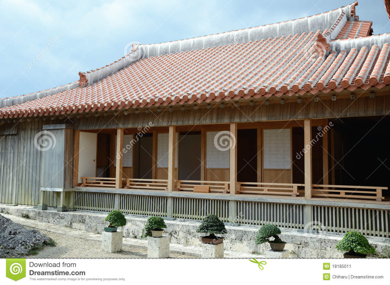 Bonsai And Traditional Japanese House Stock Image Image