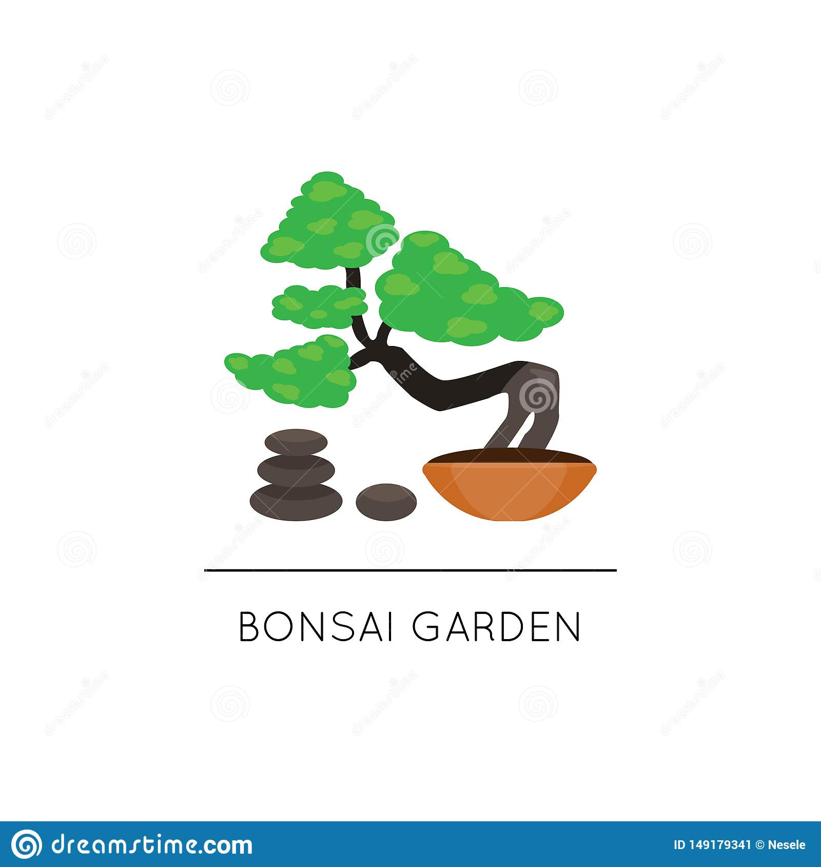 Bonsai Logo Illustrations Vectors