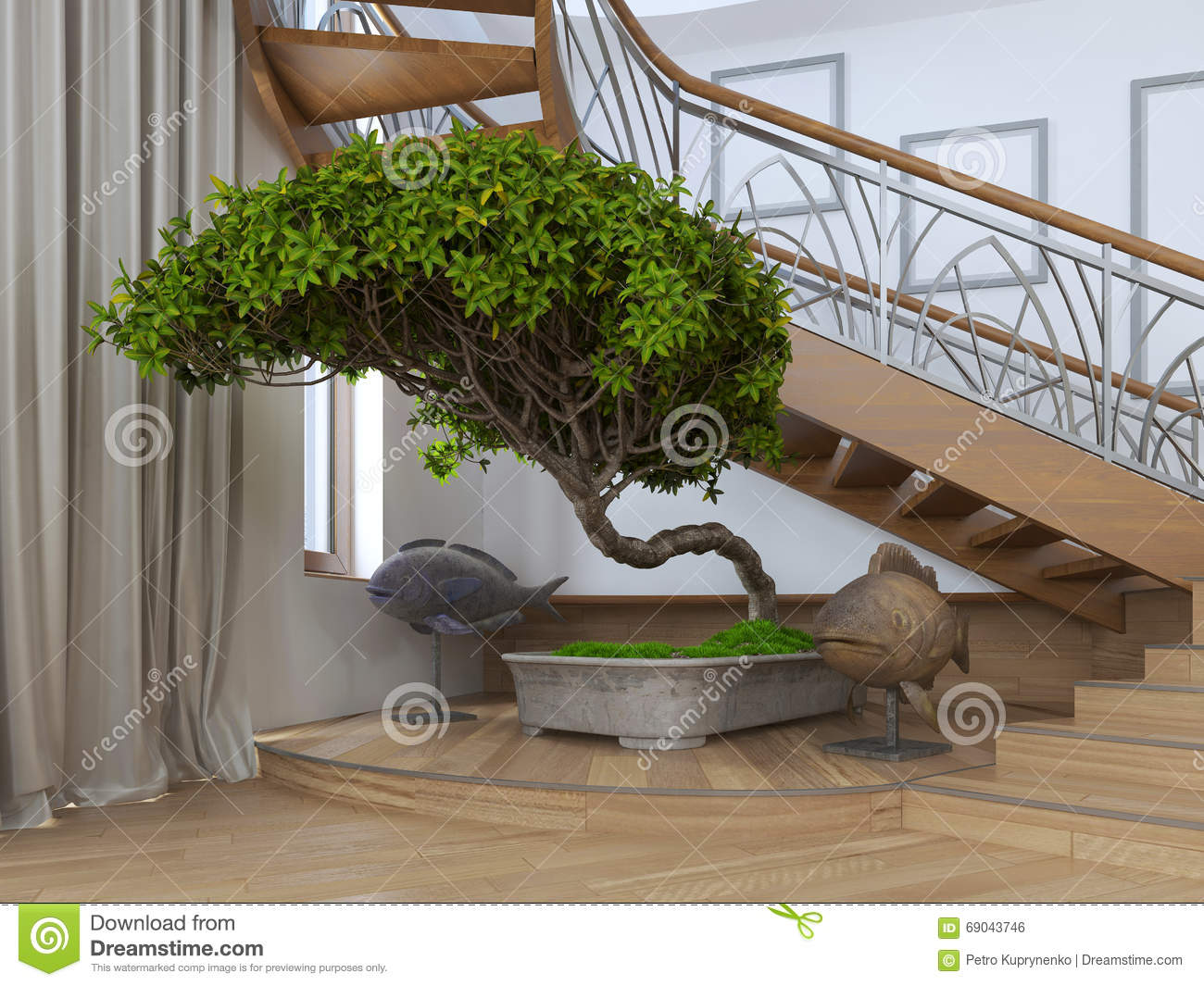 Bonsai tree in the interior of a private house with for Arbre maison jouet