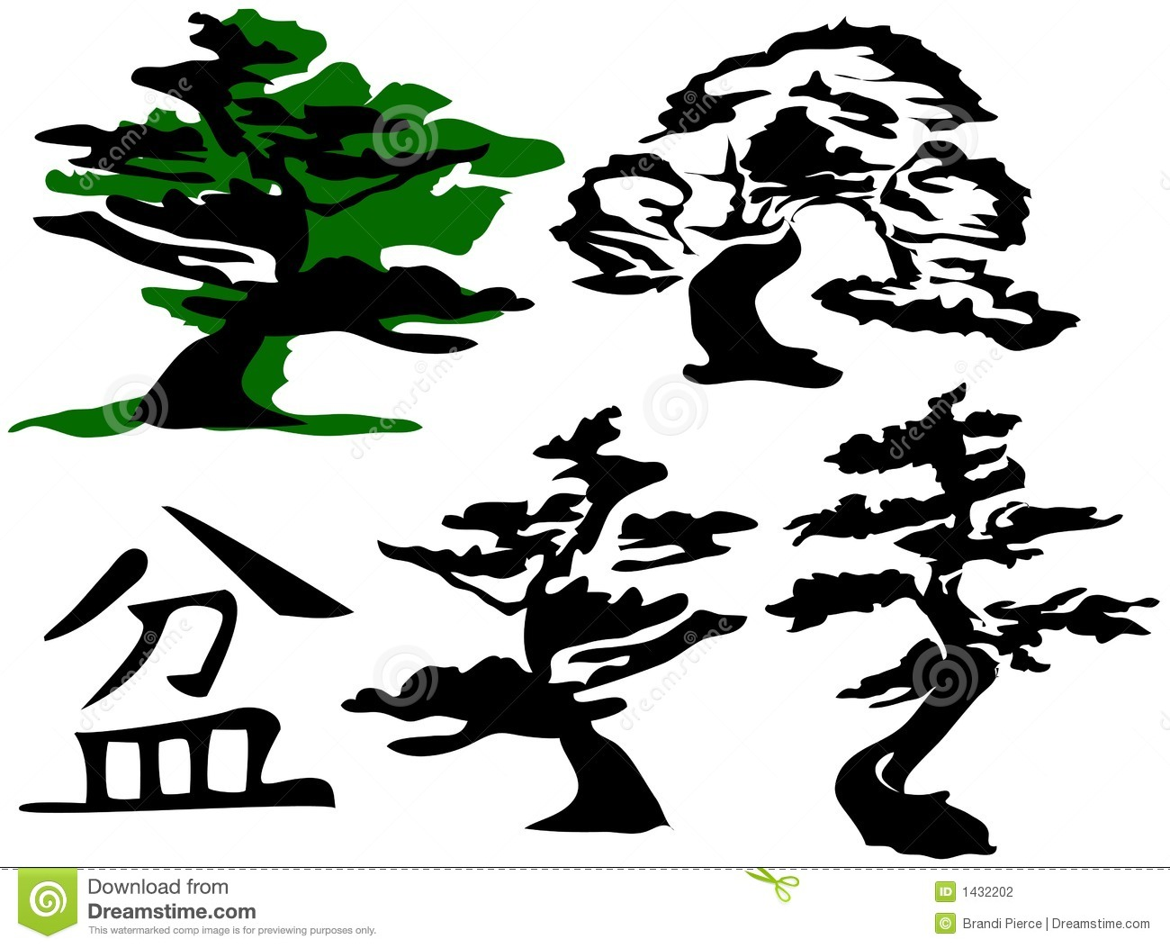 Bonsai Trees & Character [Vector] Stock Photography - Image: 1432202