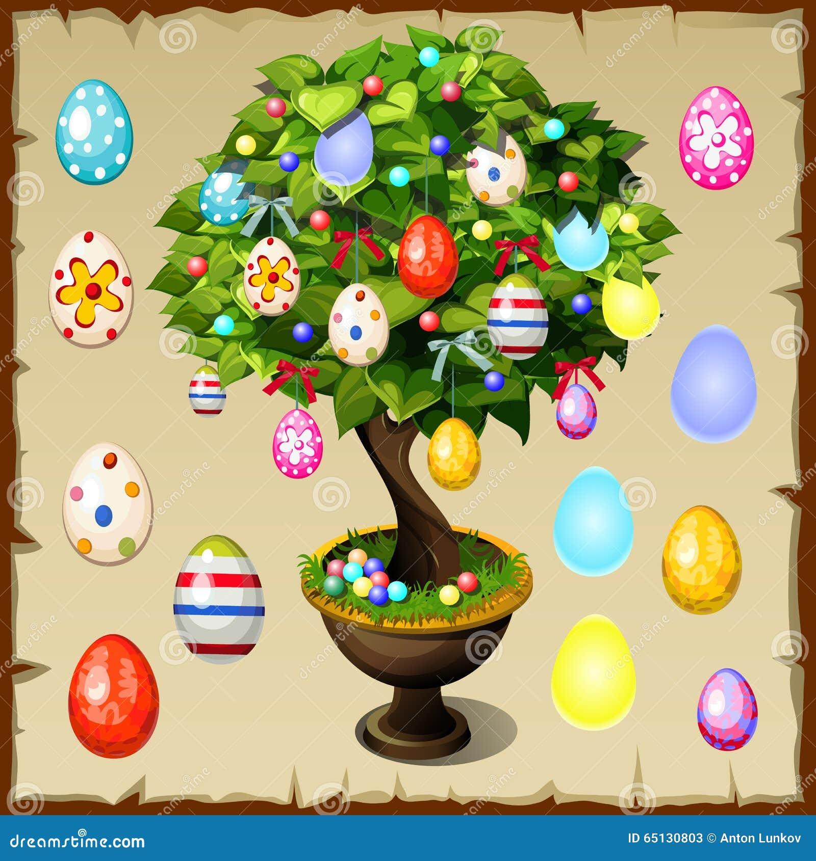 Bonsais adornados con los huevos de Pascua coloridos