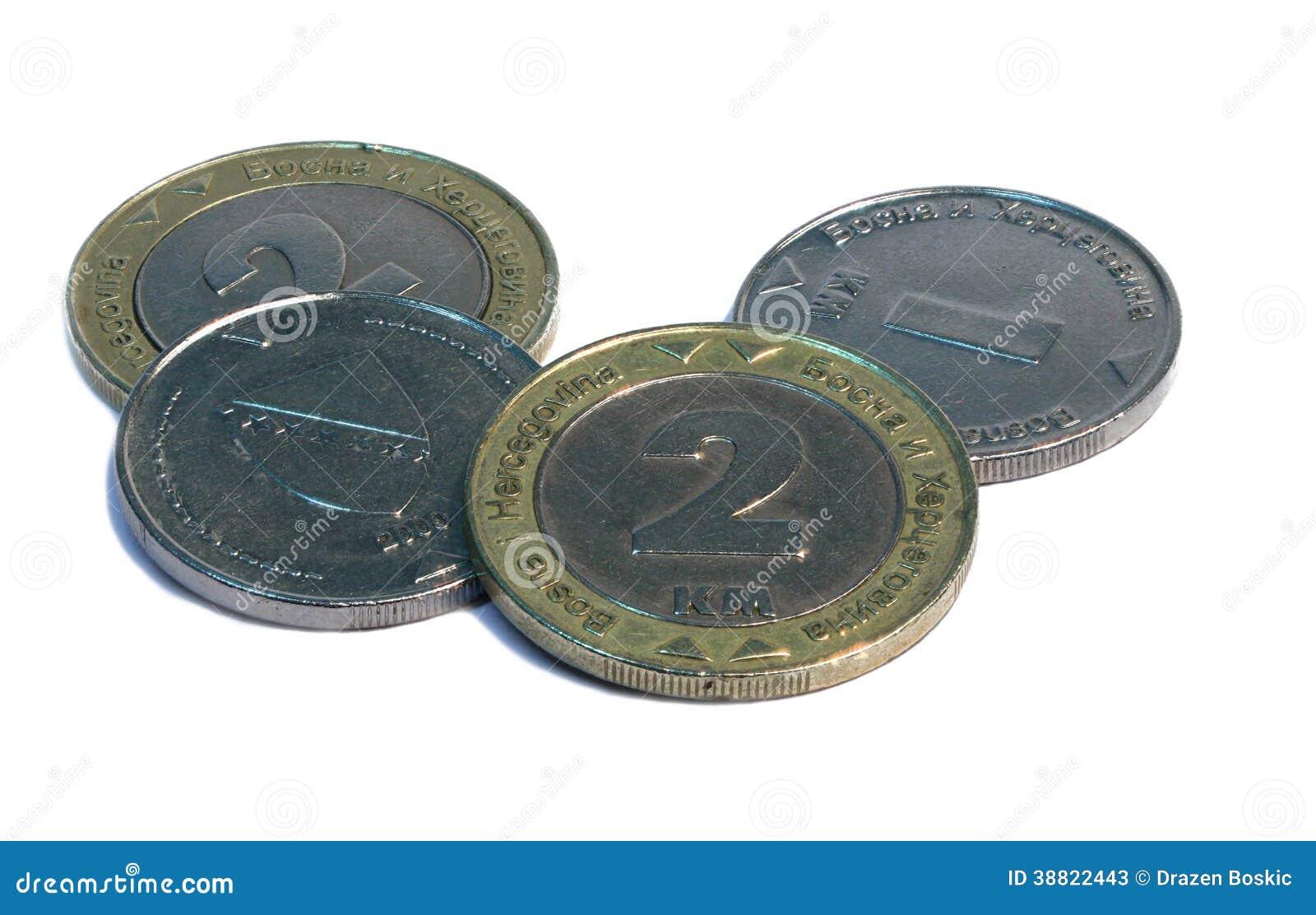 Bonsnian oceny odwracalne monety, biały tło