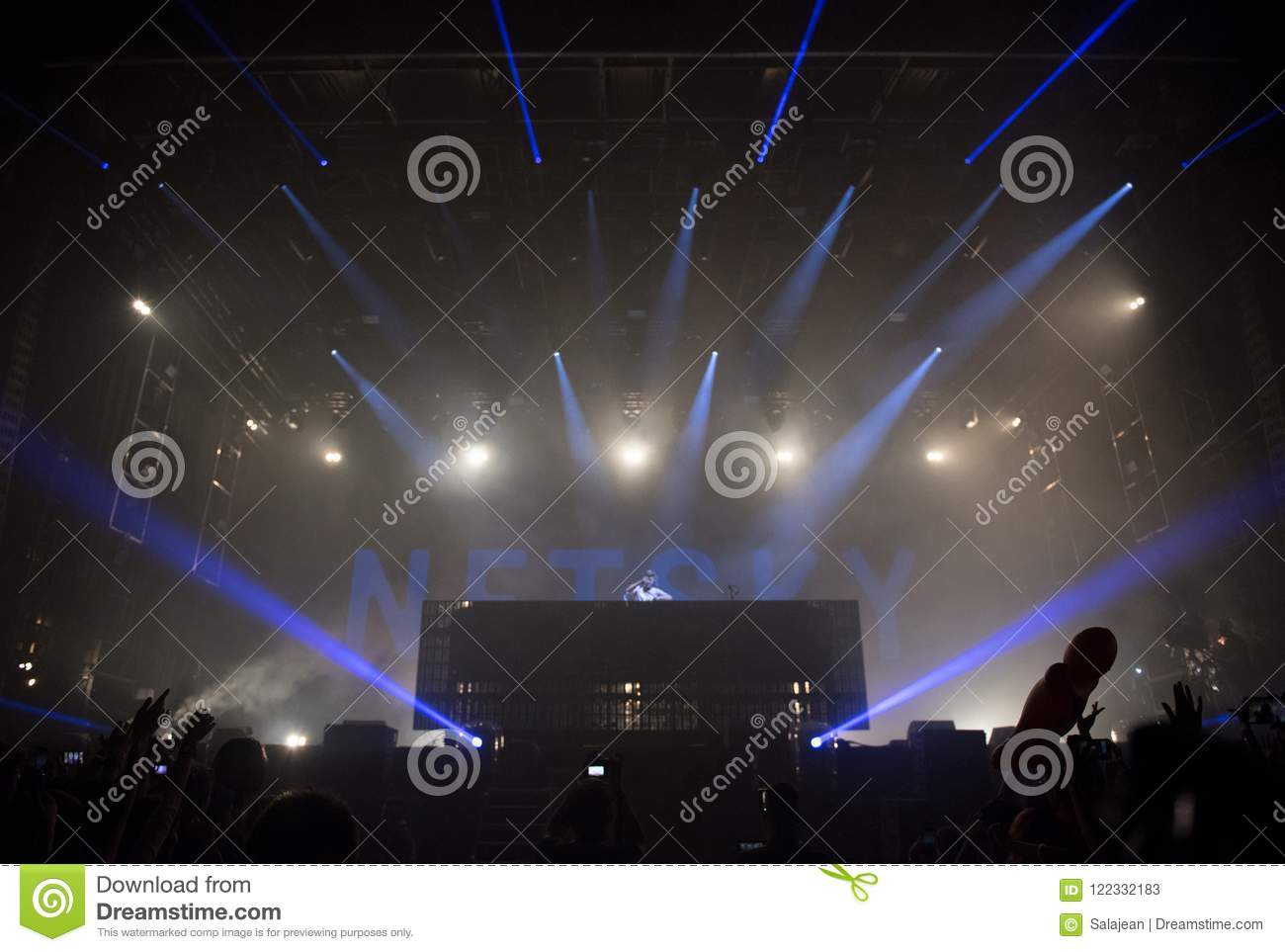 Drum and bass Dj at live concert