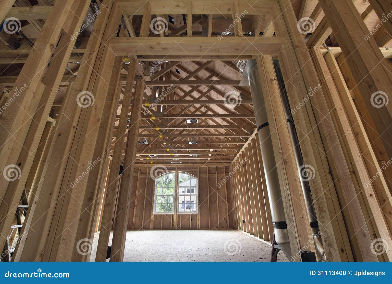 Bonus room wood studs framing stock photo image of light for Flow wall 48 bonus set