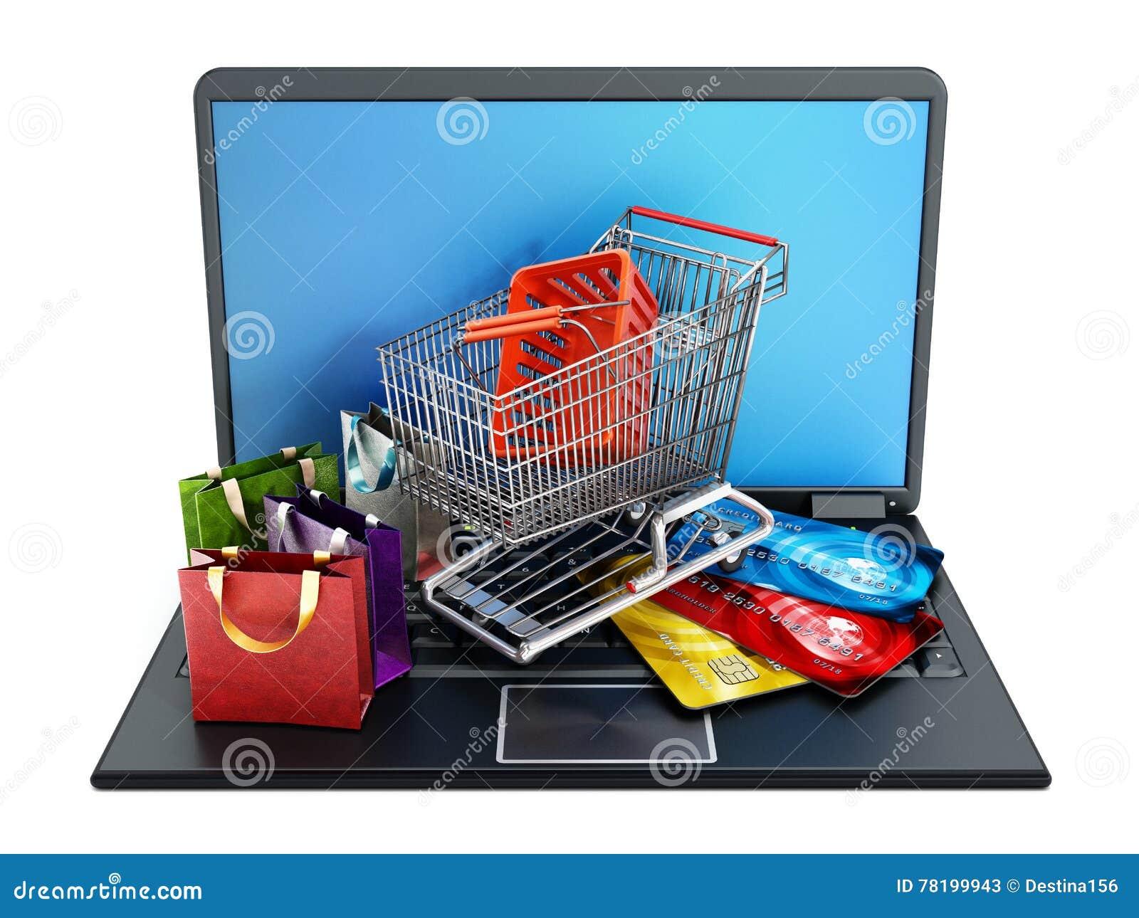 Boodschappenwagentje, creditcards en zakken die zich op laptop computer bevinden