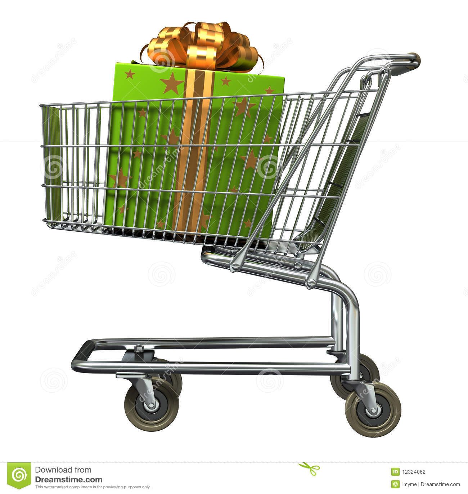 Boodschappenwagentje met de doos van de Gift