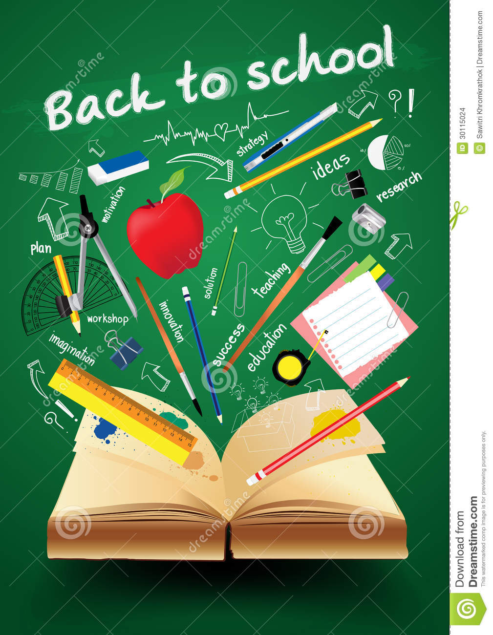 School Magazine Book Cover Design ~ Vector book with back to school creative concept