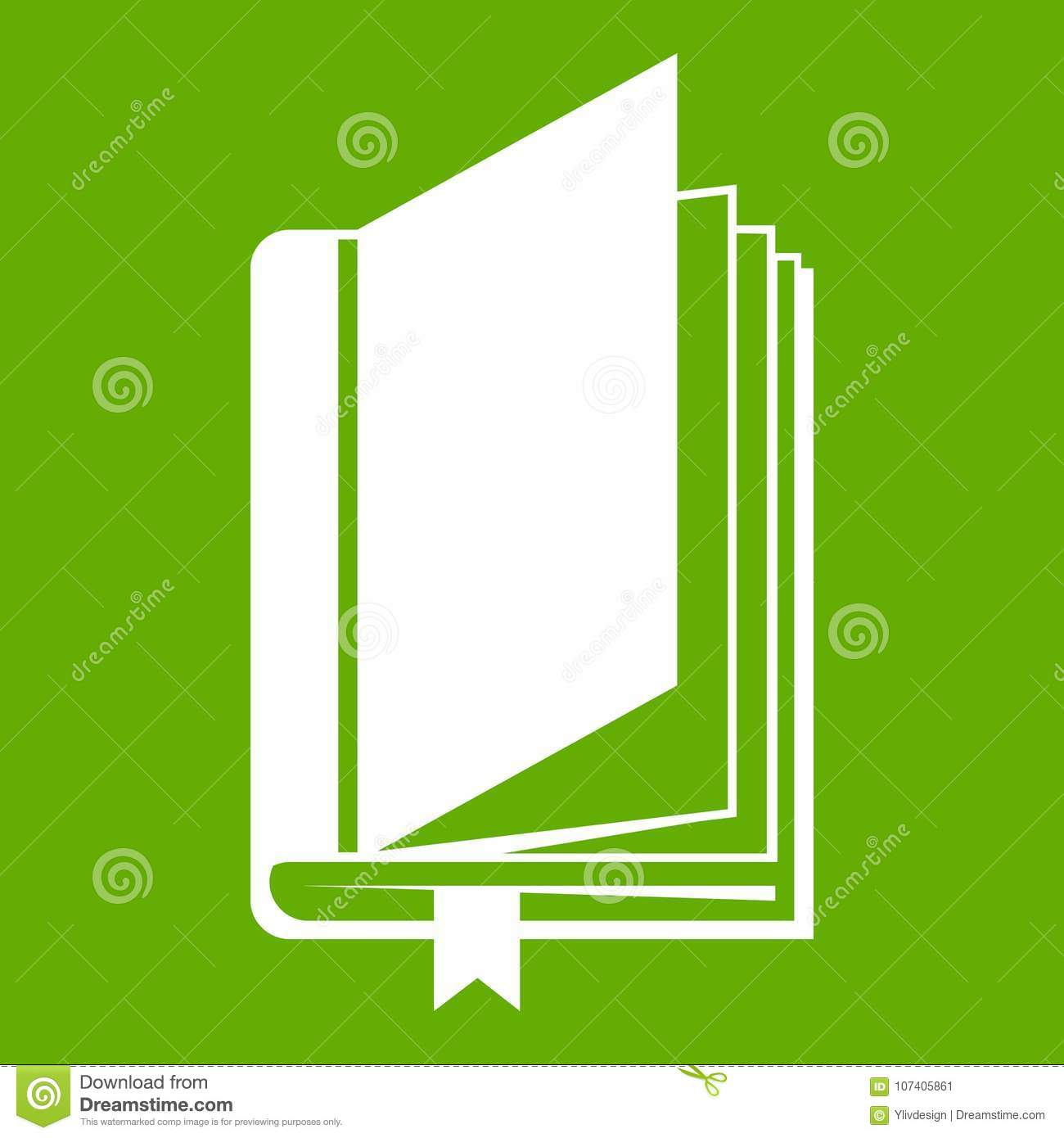 book with bookmark icon green stock vector - illustration of