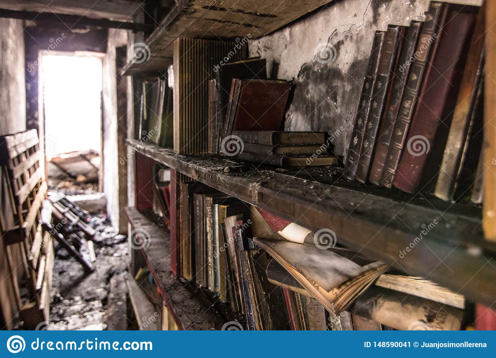 Book burnt in a bookcase after a fire