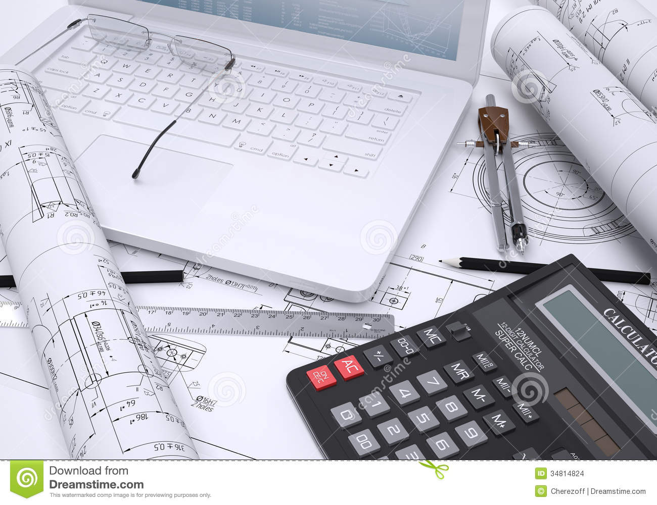 The Book, Calculator, Paper And Laptop Stock Images - Image: 34814824