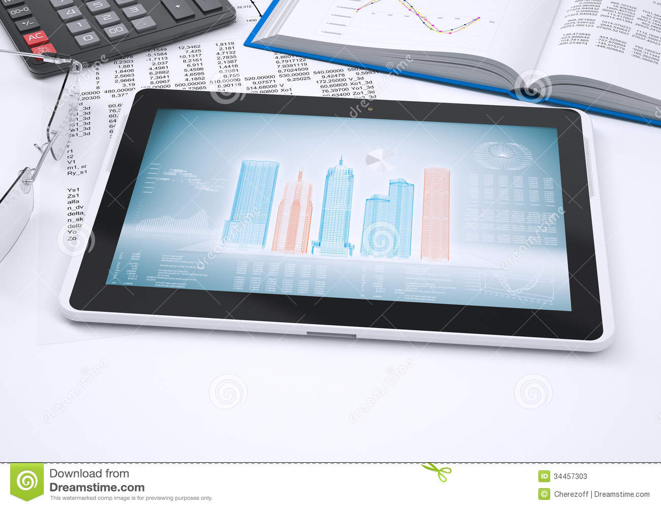 The Book, Calculator, Paper And Tablet Computer Stock Photos ...