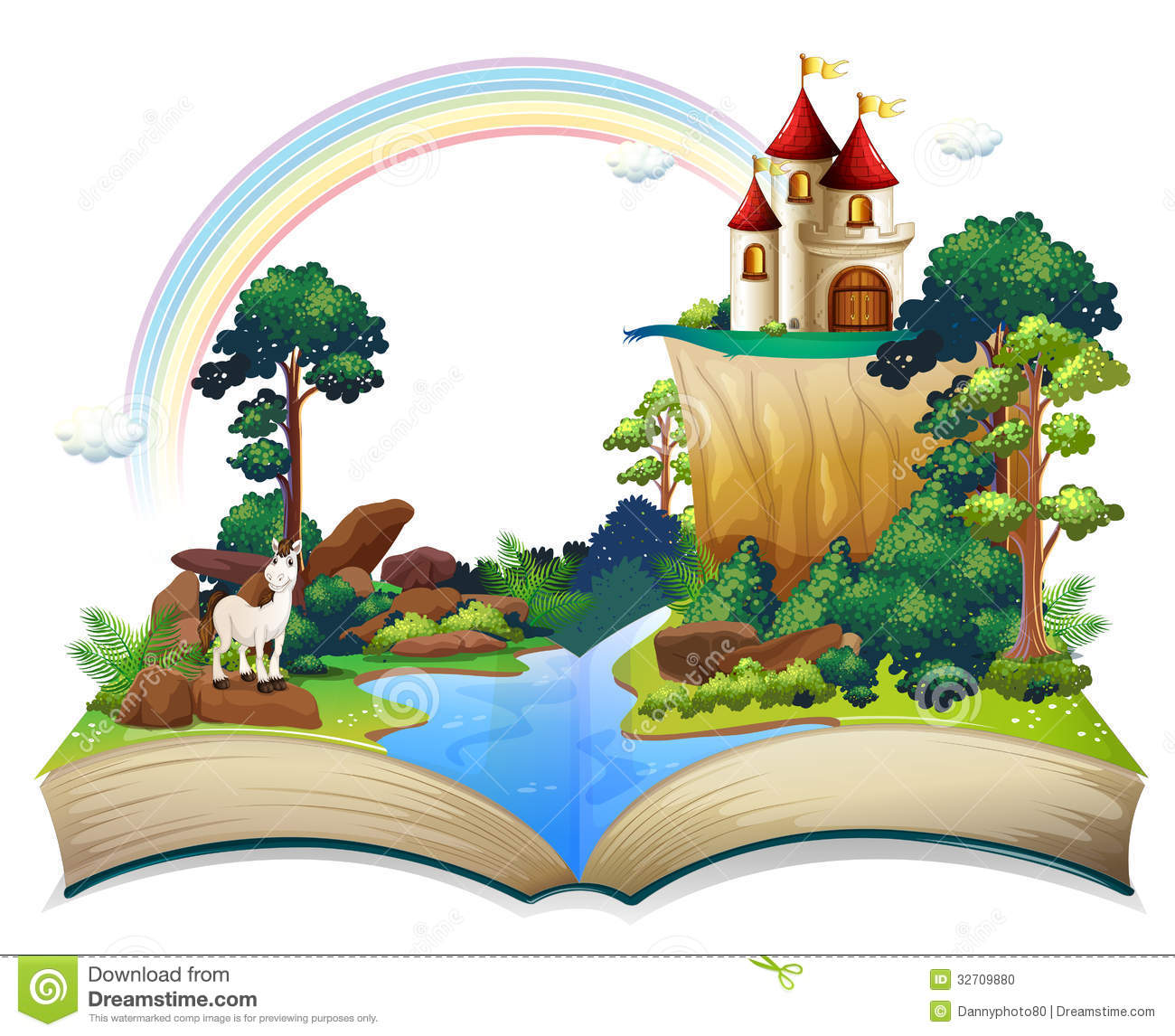 A Book With A Castle At The Forest Stock Photo