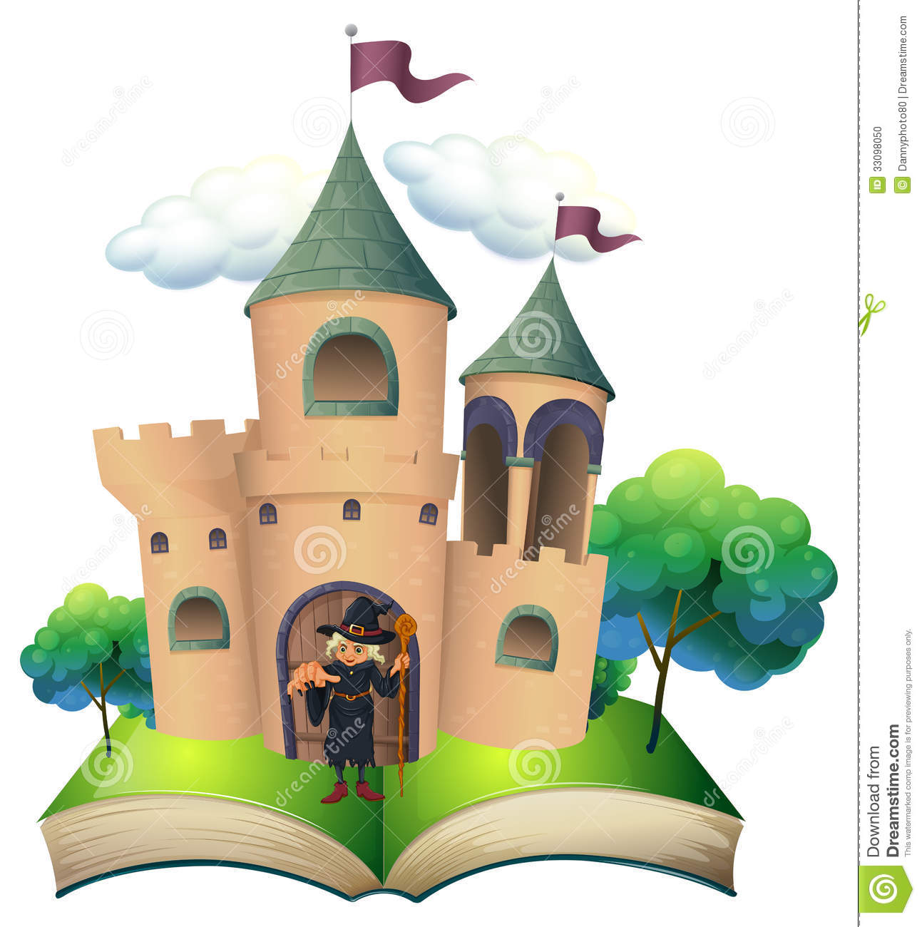 A Book With A Castle And A Witch Stock Vector