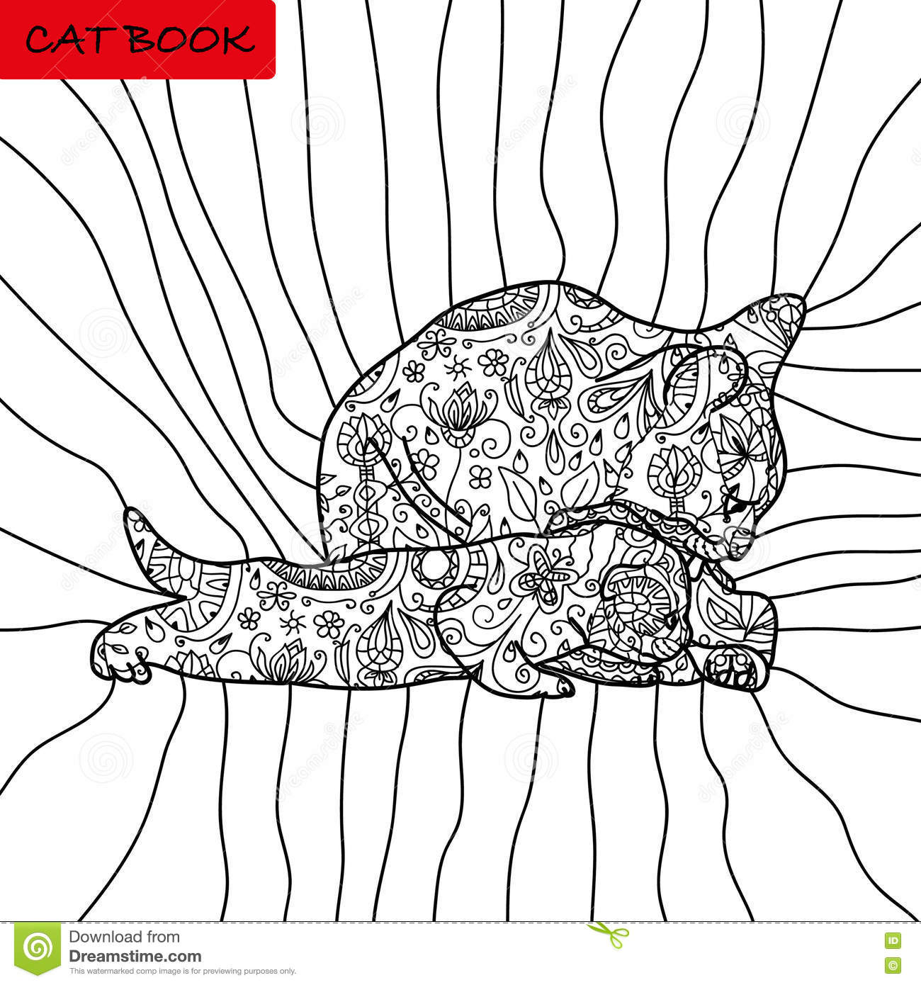 Cat and flower coloring pages - Book Coloring Pages For Adults And Children The Book Of The Cat