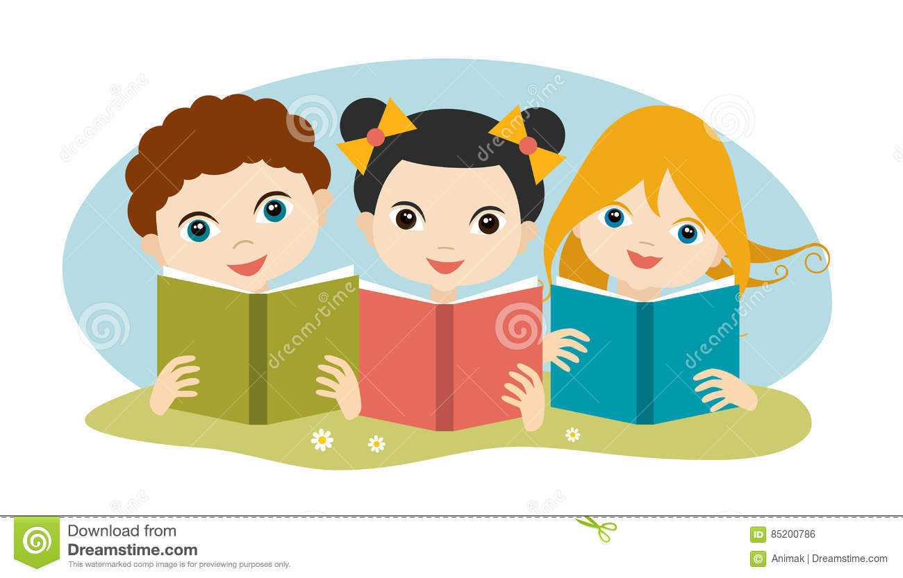 book concept. little cute group of three children reading a books