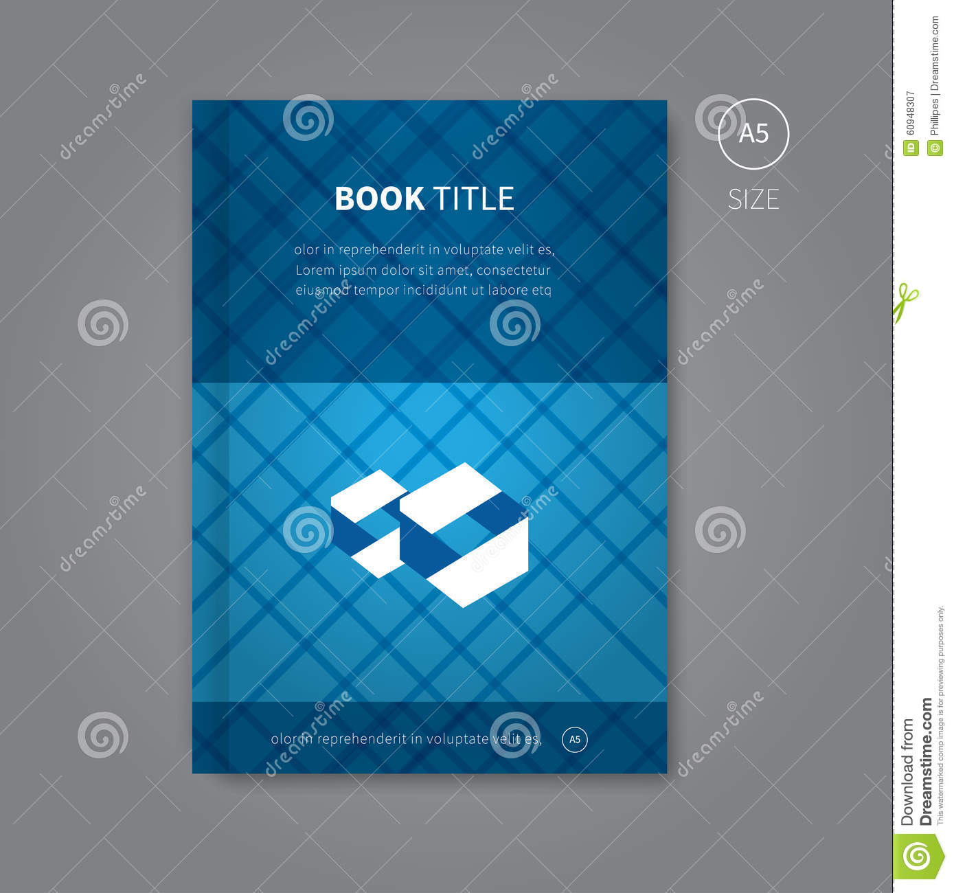 Book Cover Design With Blue Pattern Stock Vector Image