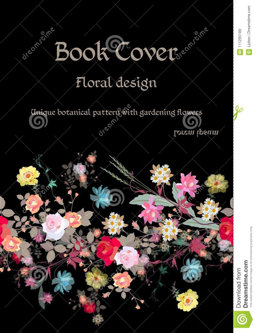 Book cover floral design unique botanical pattern with gardening flowers