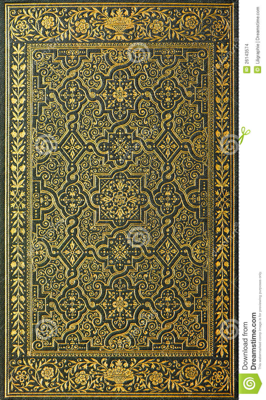Book Cover Patterns Photo Free : Book cover with golden pattern stock photo image of