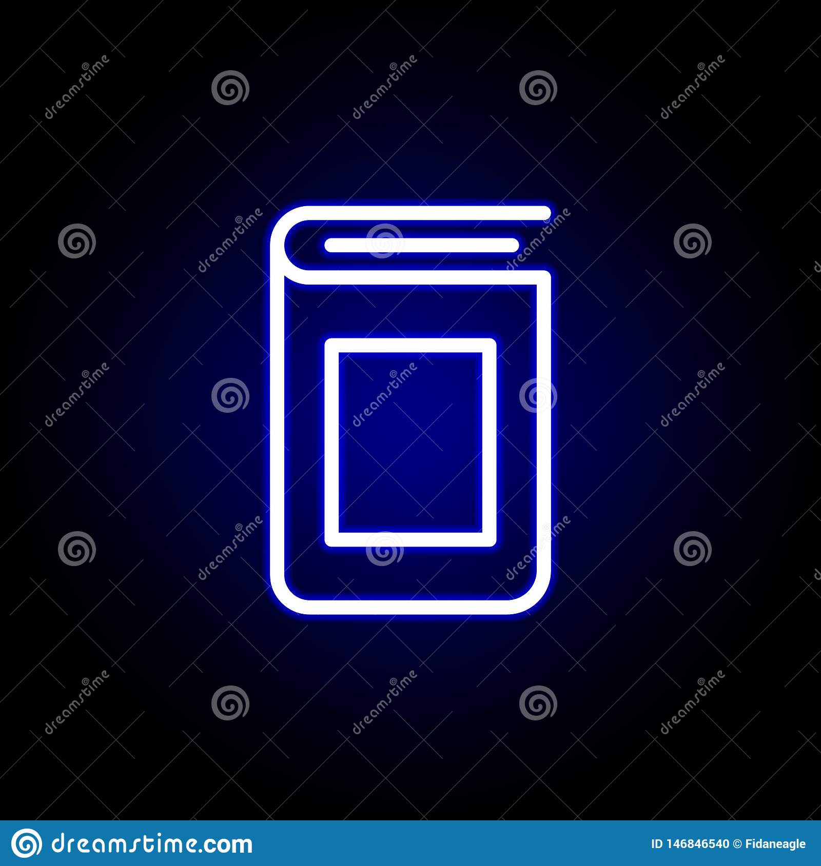 Book cover icon in neon style. Can be used for web, logo, mobile app, UI, UX