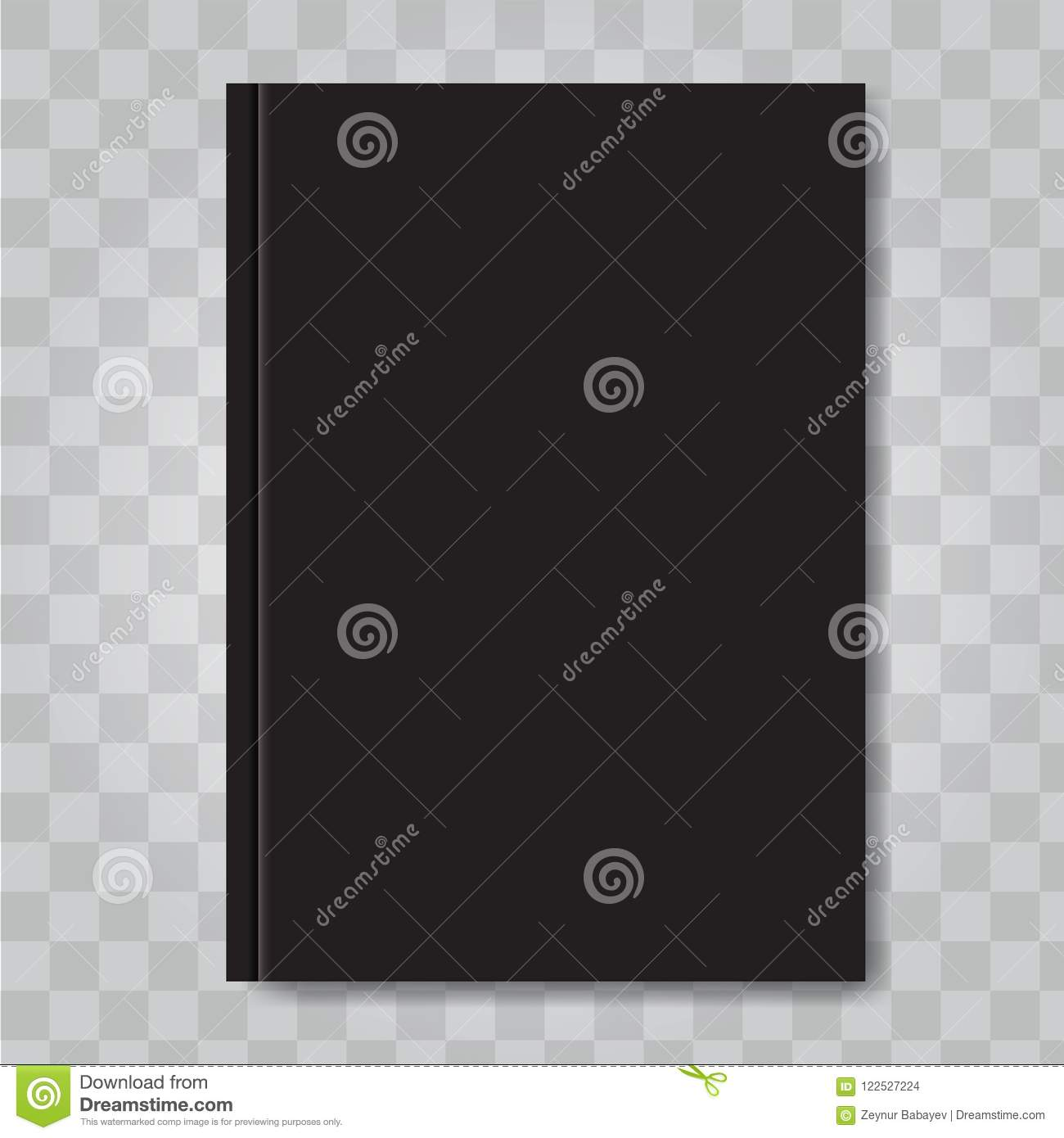 Illustrated Book Cover Vector ~ Vector book cover mock up dark black color ready template blank