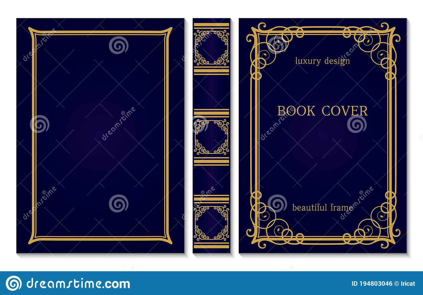 Book Cover And Spine Ornament Vintage Old Frames Royal Golden And Dark Blue Style Design Border To Be Printed On The Covers Of Stock Vector Illustration Of Label Decoration 194803046
