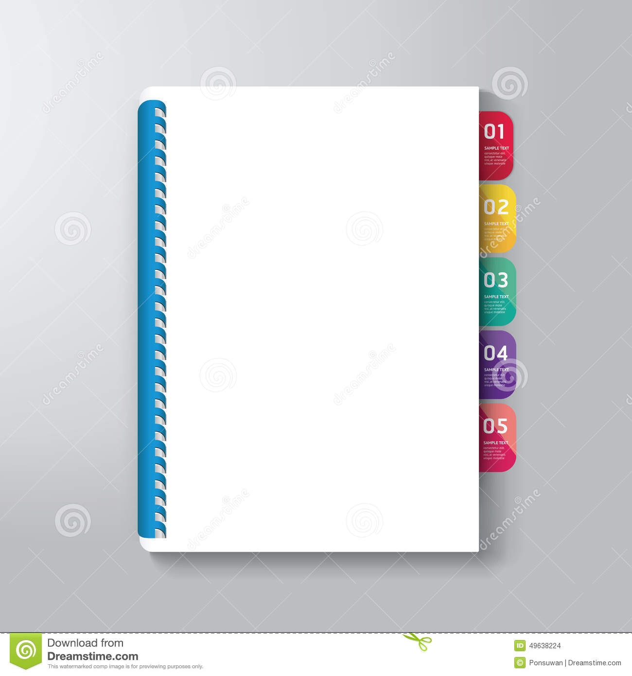 Book Cover With Tab Design Style Template Stock Vector