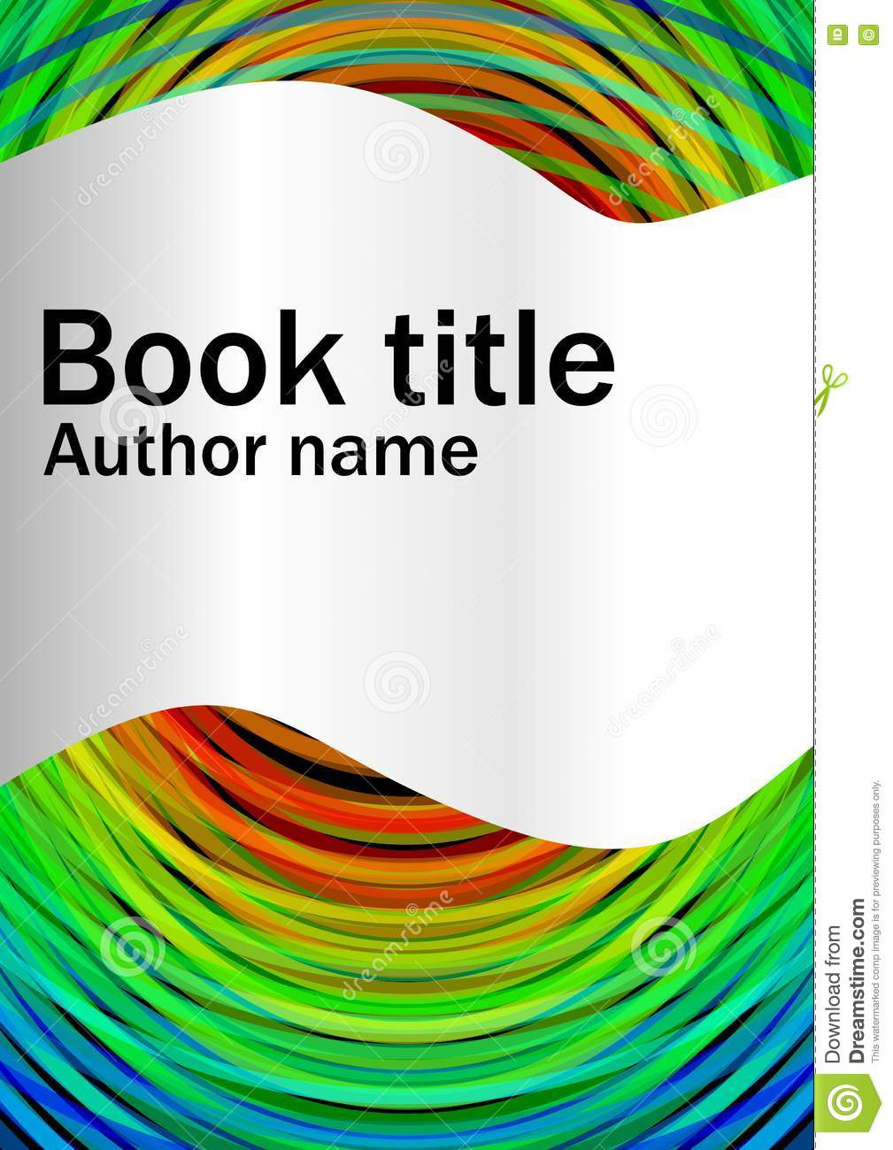 Paper Book Cover Template : Book cover template with abstract rainbow circles and
