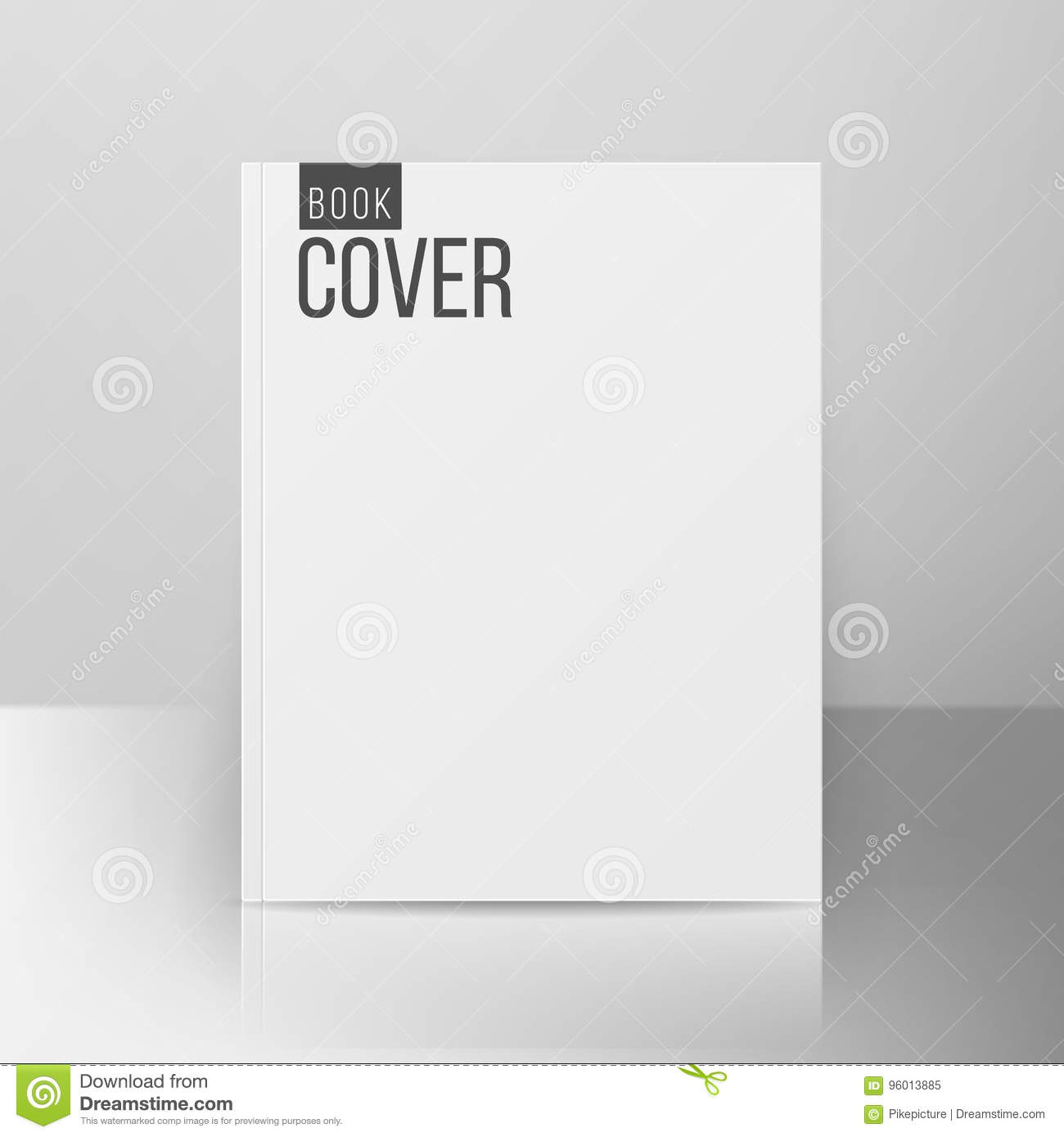 book cover template vector realistic illustration on gray
