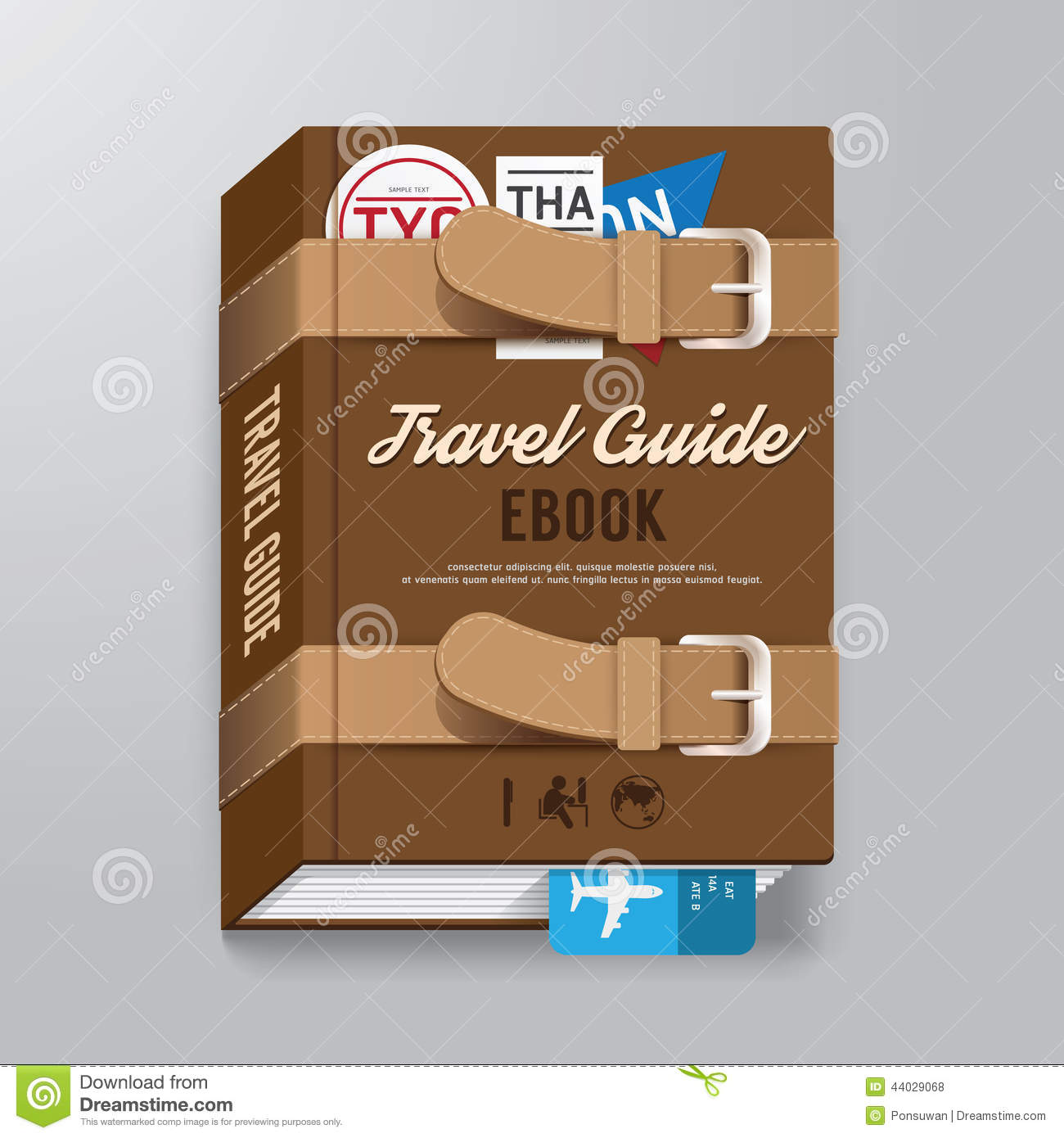Book Cover Design Template Vector Illustration Free Download ~ Book cover travel guide design luggage concept template