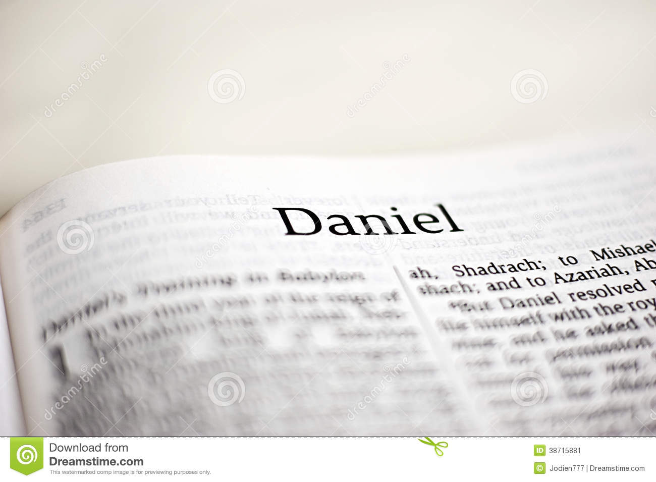 Book of Daniel stock image  Image of christianity, closeup