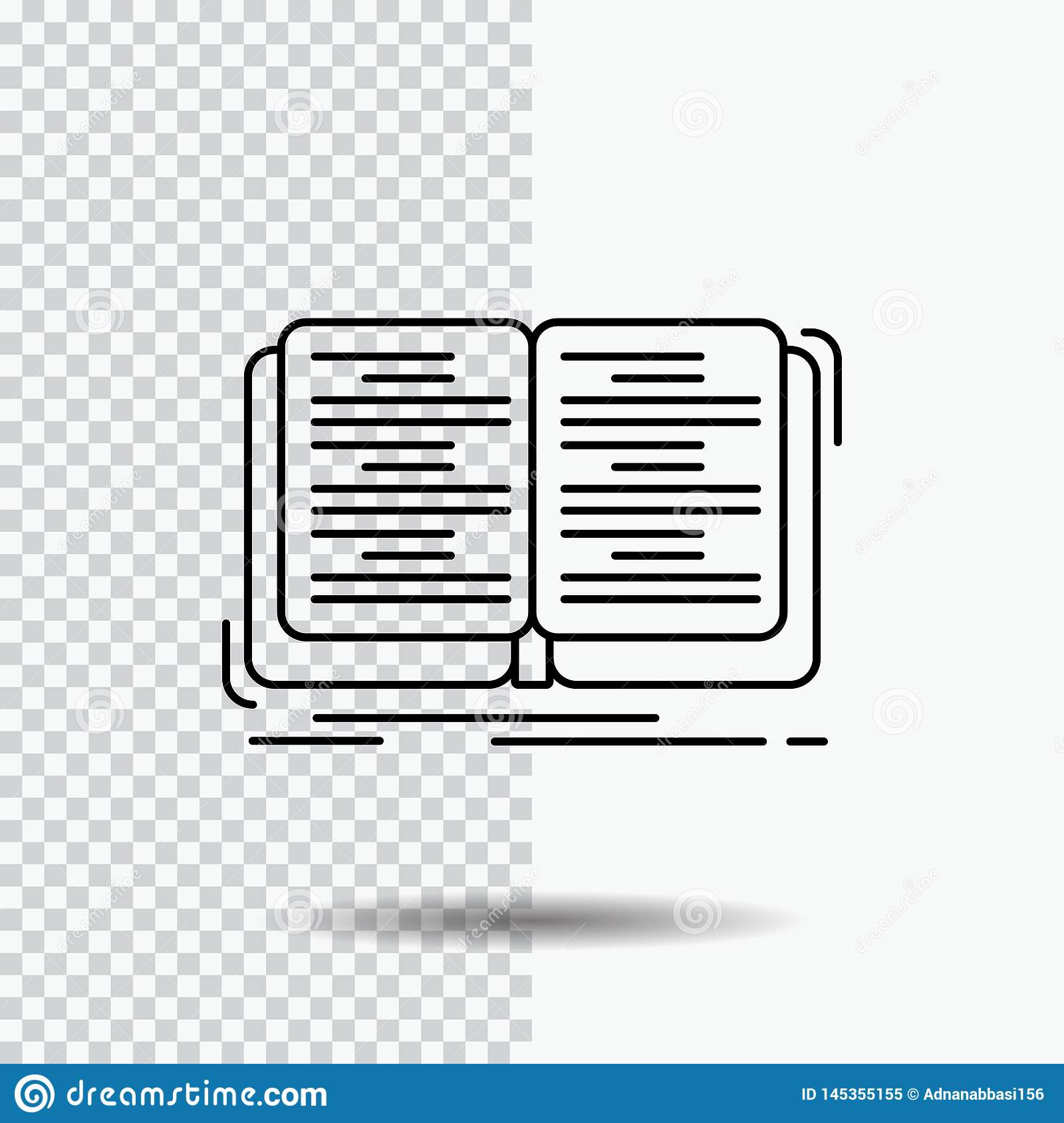 Book, education, lesson, study Line Icon on Transparent Background. Black Icon Vector Illustration. Vector EPS10 Abstract Template background royalty free stock photo