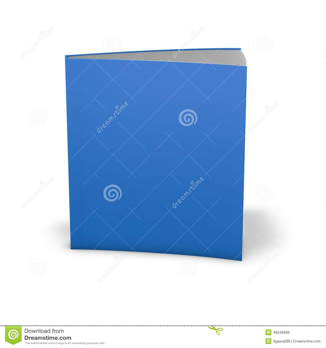 Blue Cover Cookbook : Empty blue book cover on the white background stock image