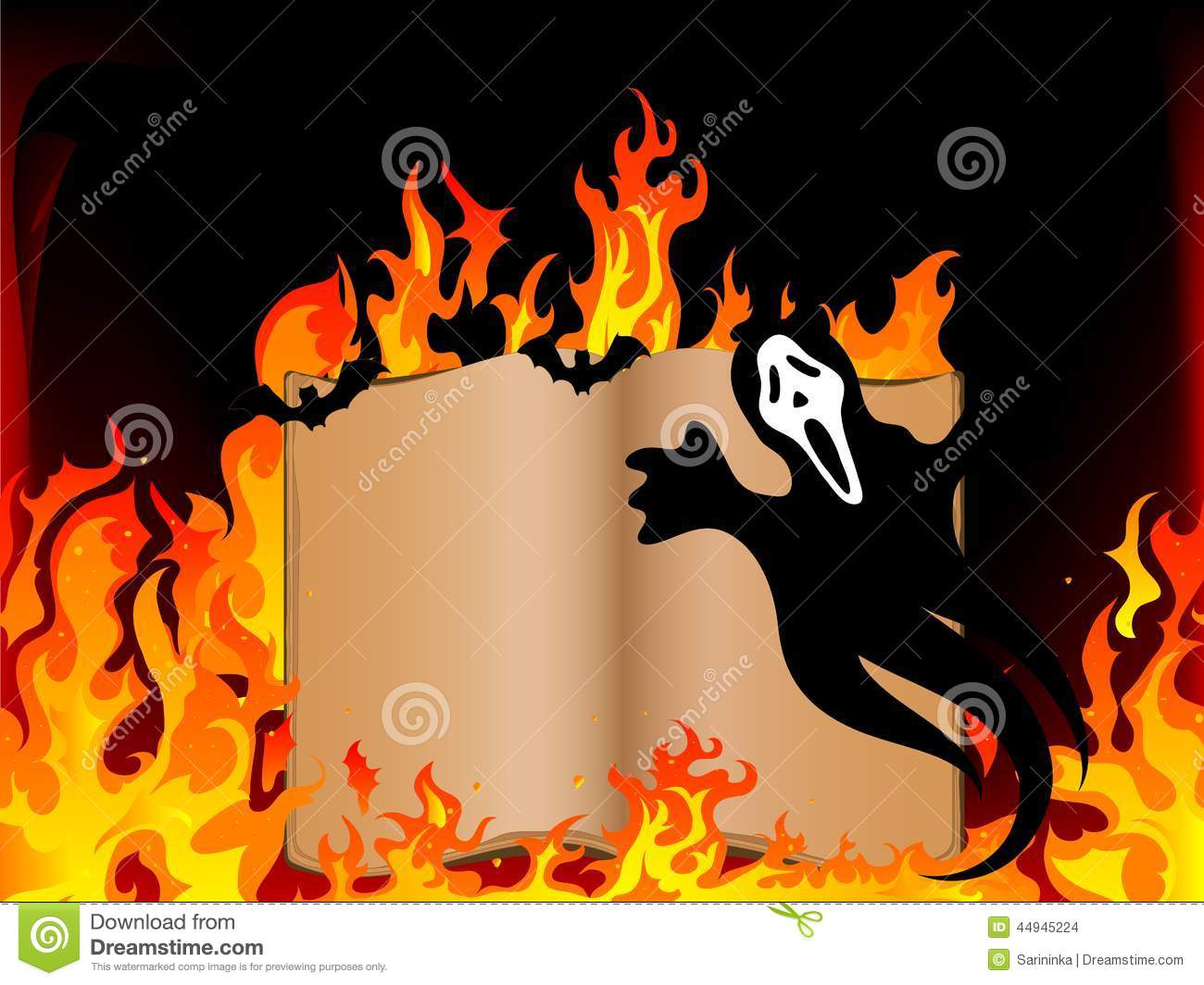 Old open book and ghost in fire.
