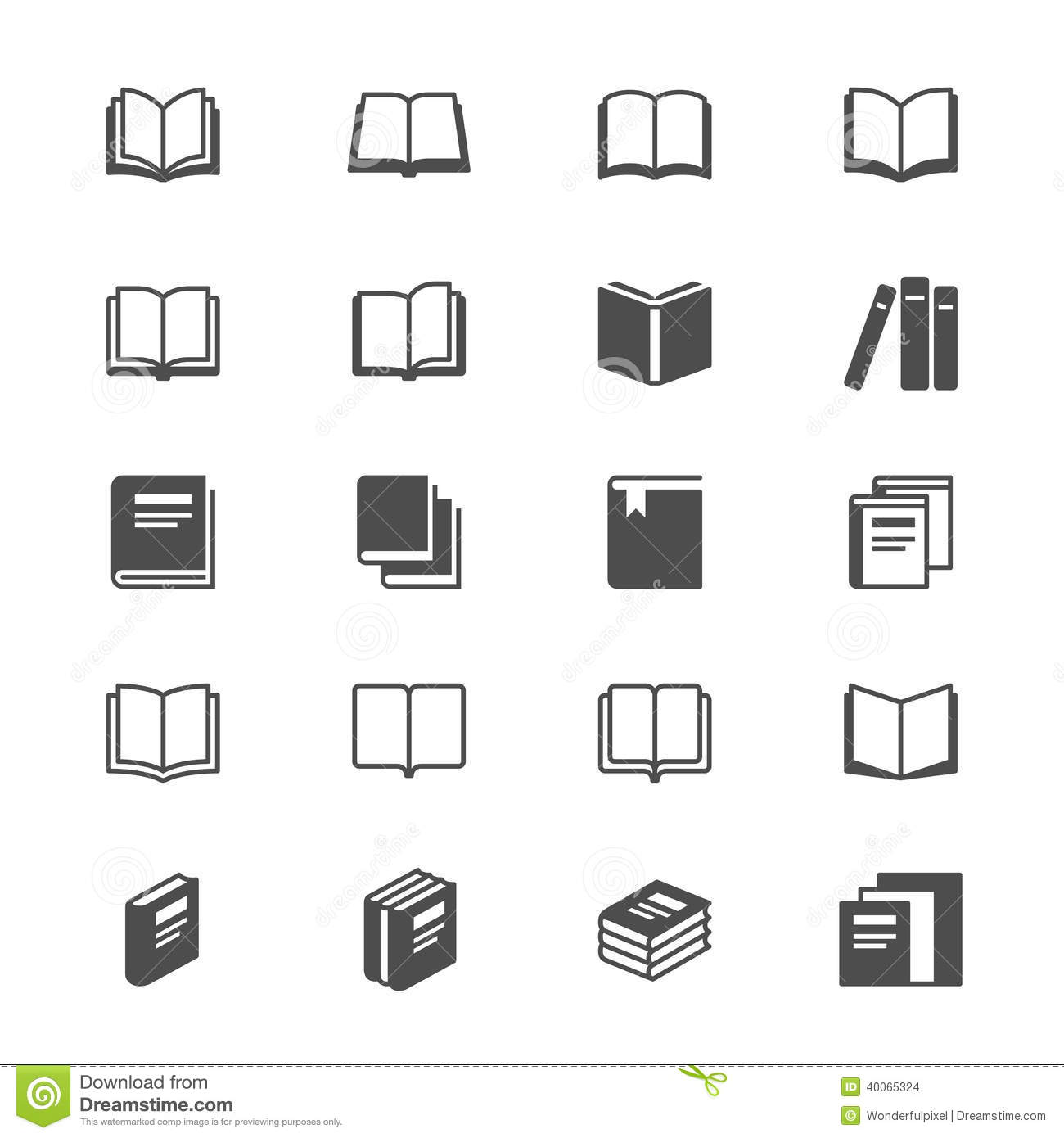 Book Flat Icons Stock Vector Image 40065324