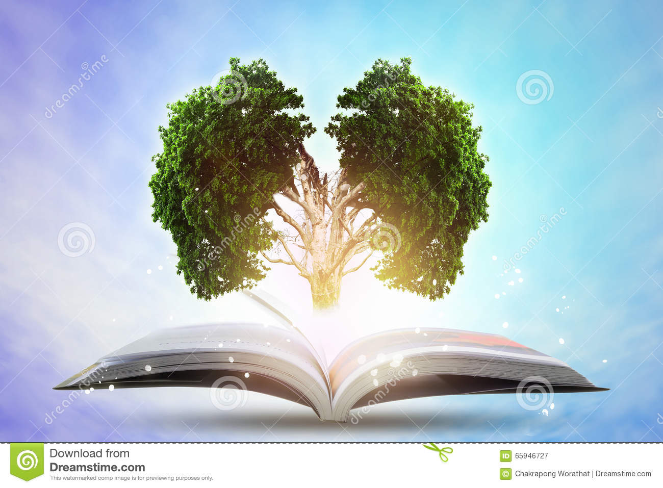 Book of growing knowledge with brains big tree.