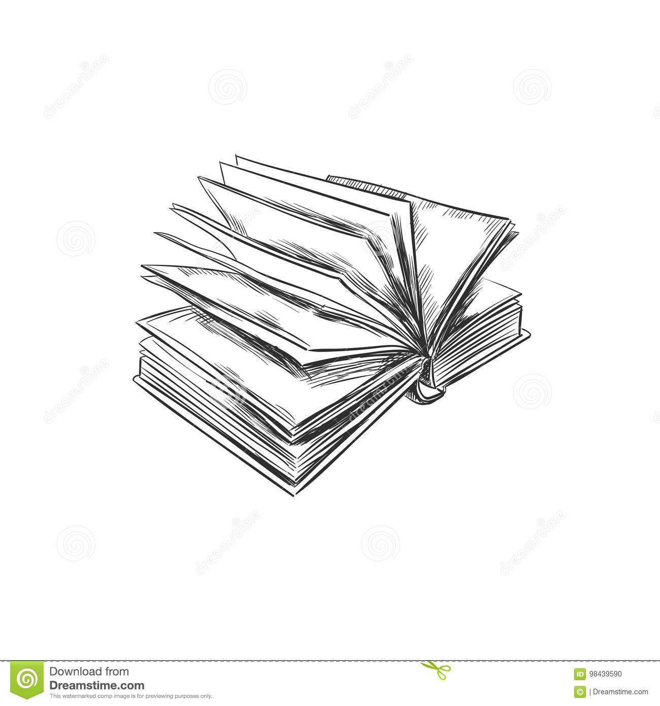Book. Hand drawn illustration. Sketch style. Icon. Retro. Vintage. Can be used as logo for bookstore or shop, library, educational