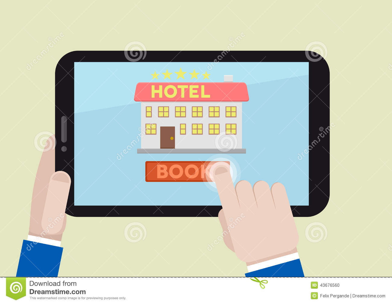 Book hotel room stock illustration image 43676560 for Tablet hotel booking