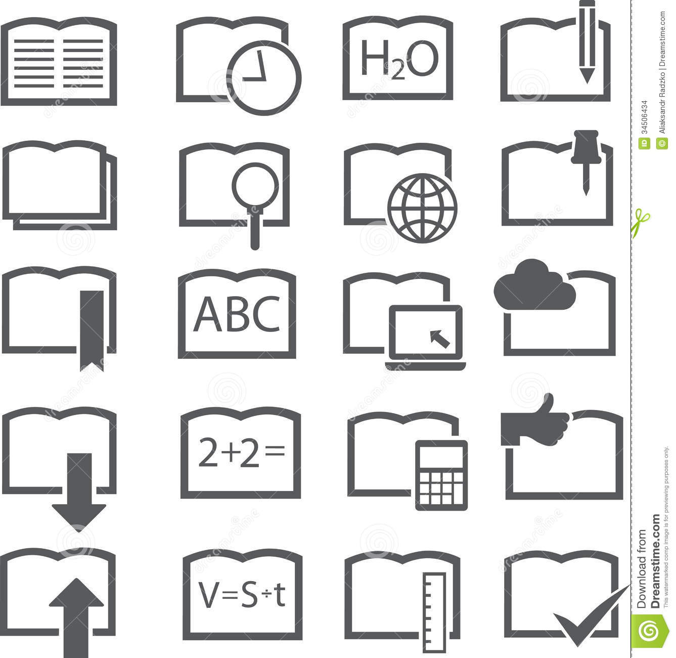20 Book Icons Of Grey Colour Stock Vector - Illustration of book ...