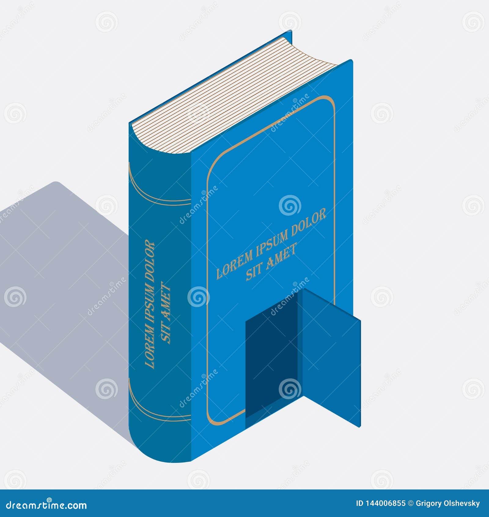 Book isometric image. Fulcolor designe elevrnt