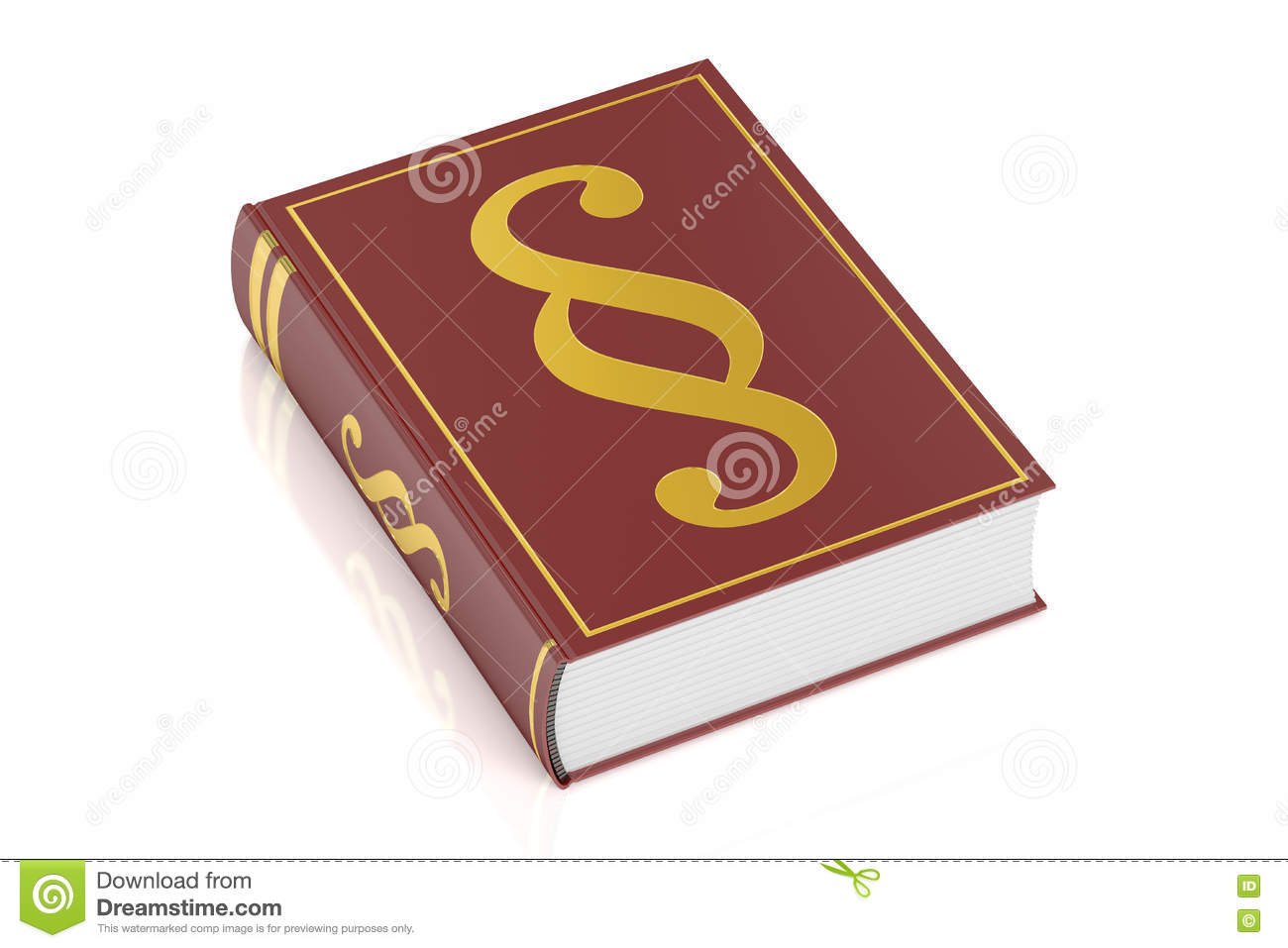 Book of justice, book with paragraph symbol, 3D rendering