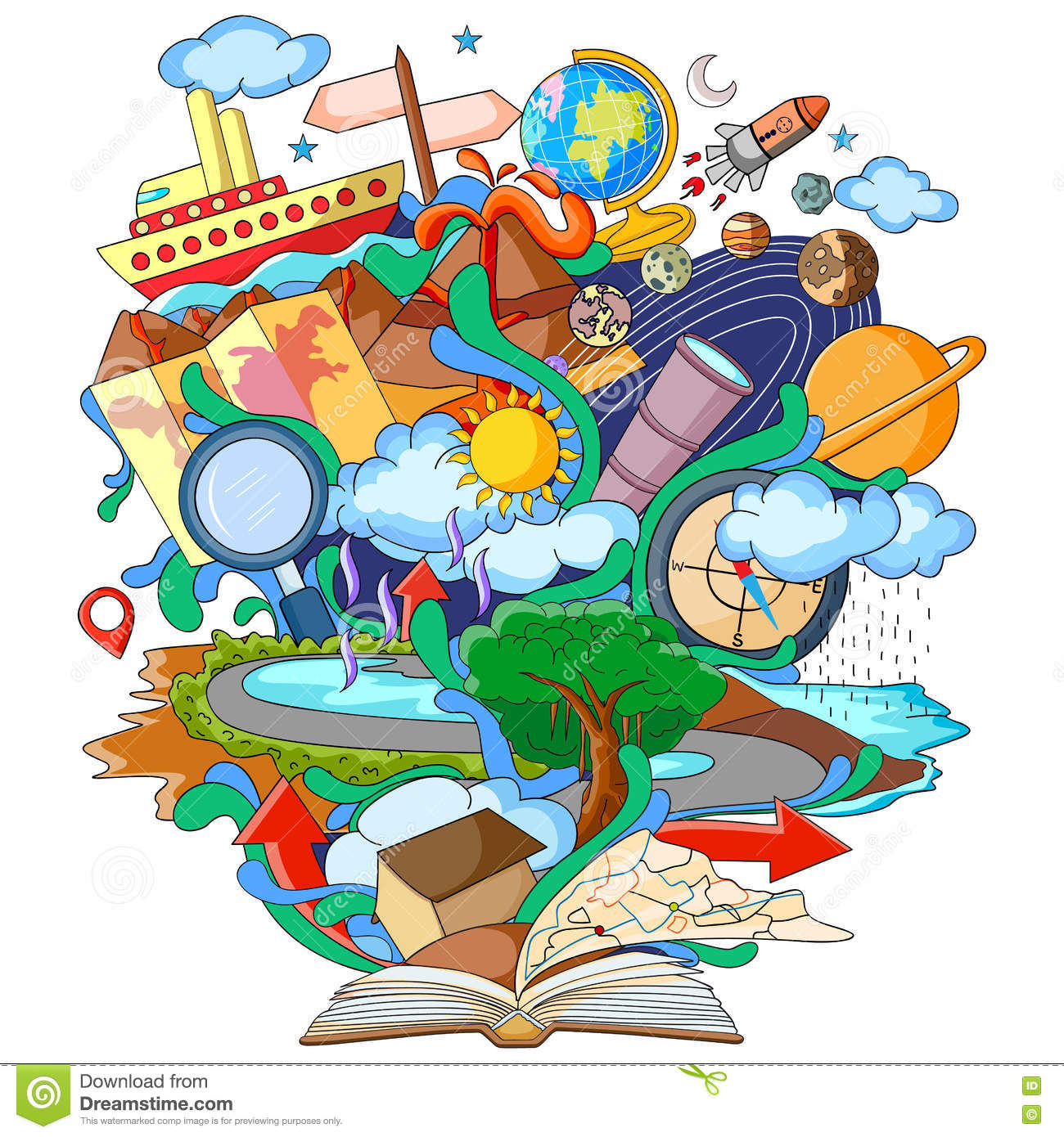 Book of knowledge for geography stock vector for Art de la cuisine francaise