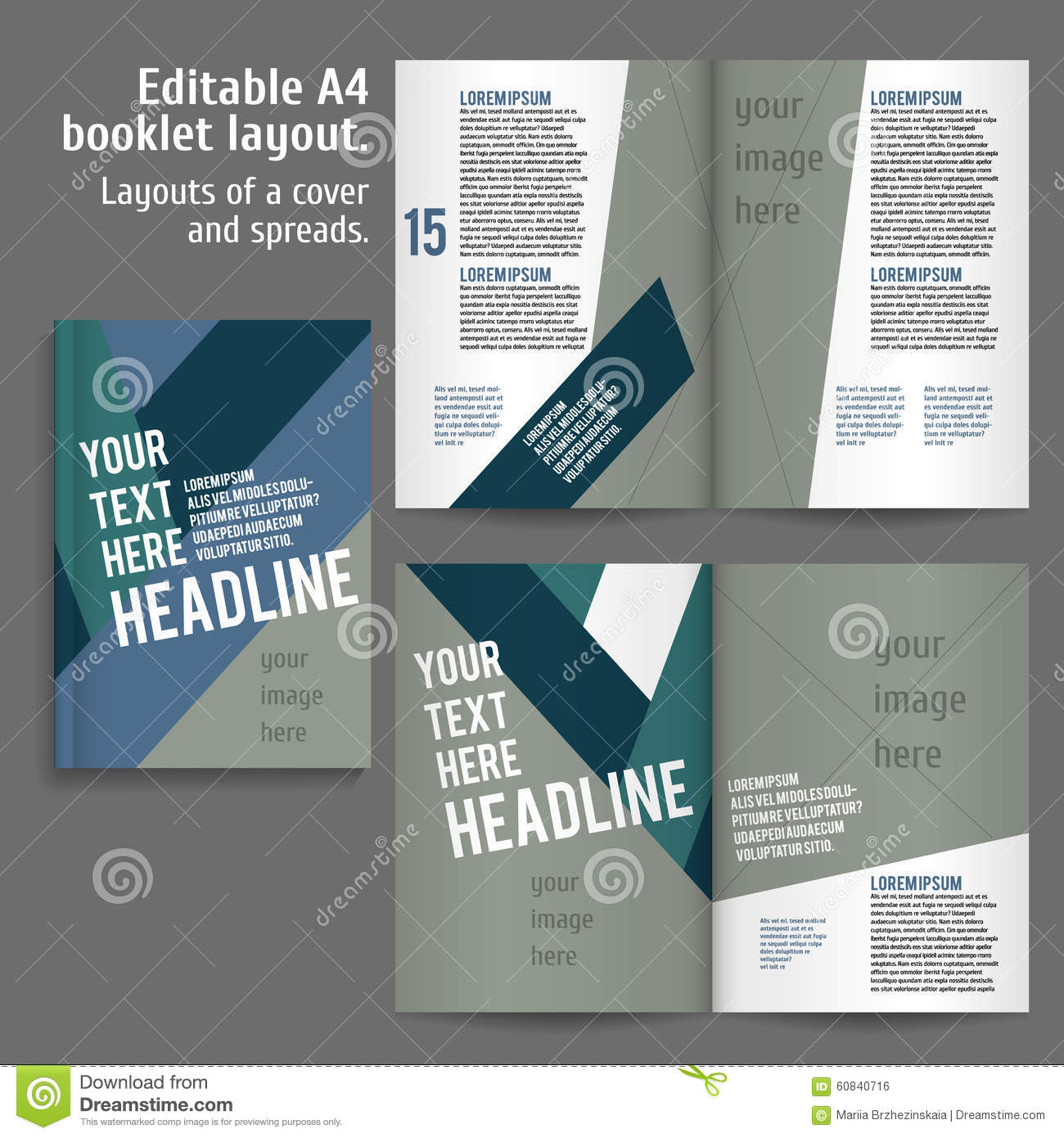 A4 Book Layout Design Template Stock Vector Illustration Of Magazine Booklet 60840716