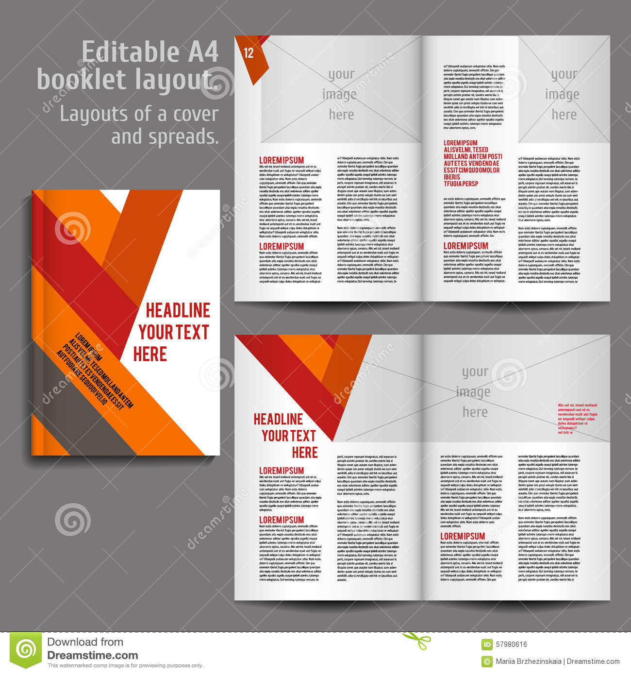 A4 book layout design template stock vector illustration for Interior design layout templates free