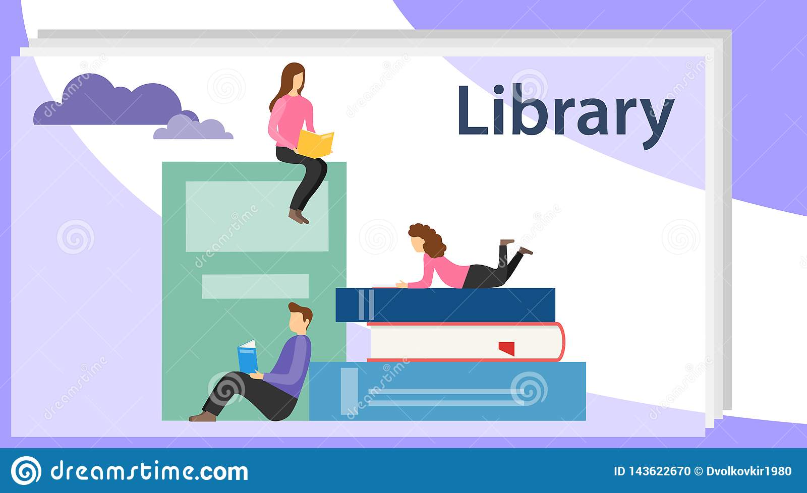 Book library concept banner with characters. Media book library concept. E-book, reading an ebook to study on e-library at school