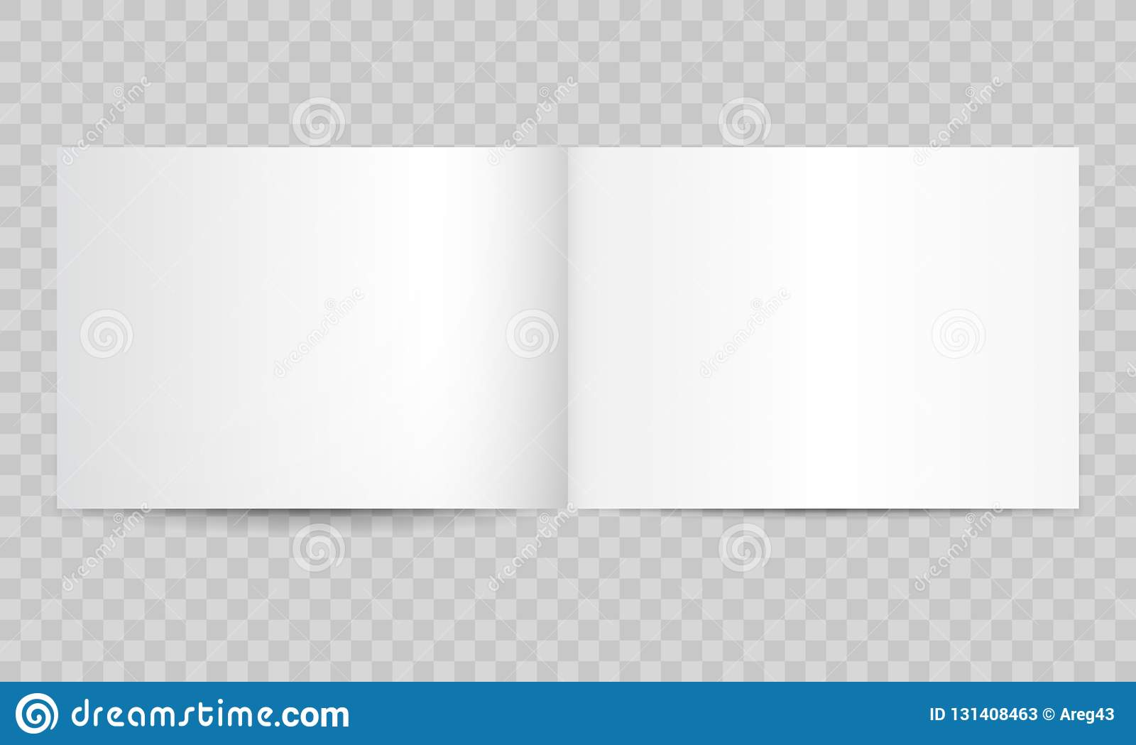 Book magazine open blank pages. Vector isolated 3D catalog brochure or A4 horizontal landscape album booklet mockup empty